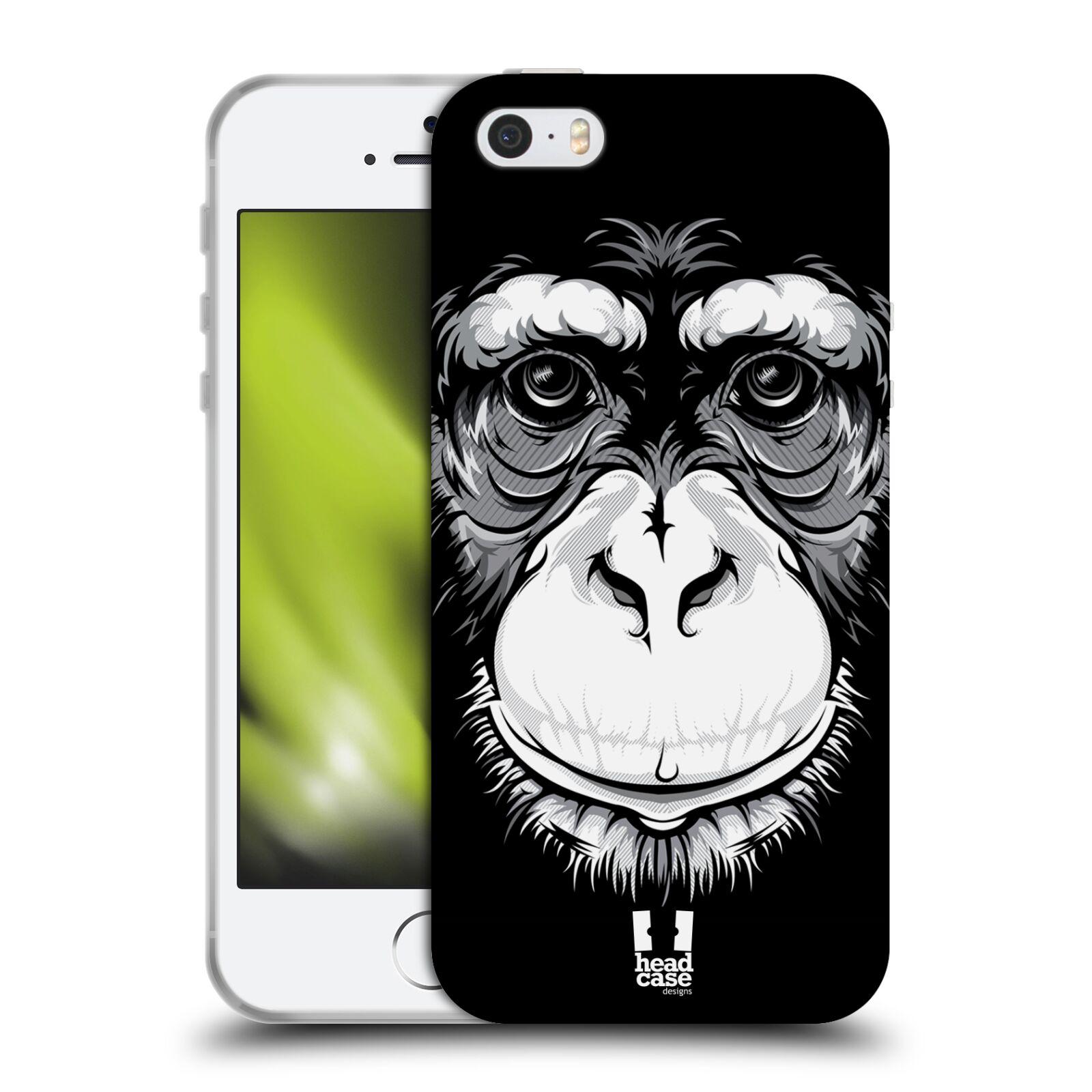 HEAD CASE silikonový obal na mobil Apple Iphone 5/5S vzor Zvíře kreslená tvář šimpanz