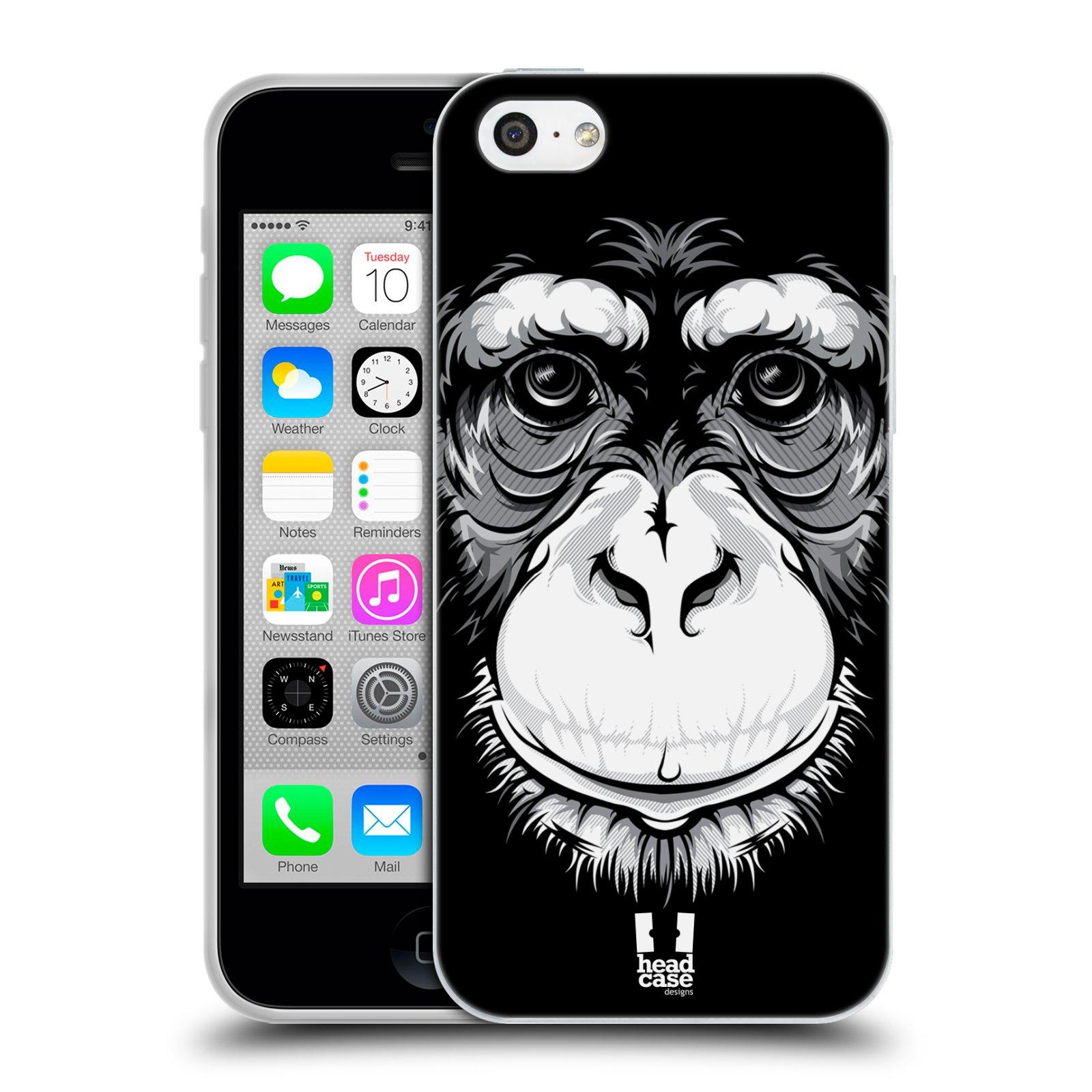 HEAD CASE silikonový obal na mobil Apple Iphone 5C vzor Zvíře kreslená tvář šimpanz