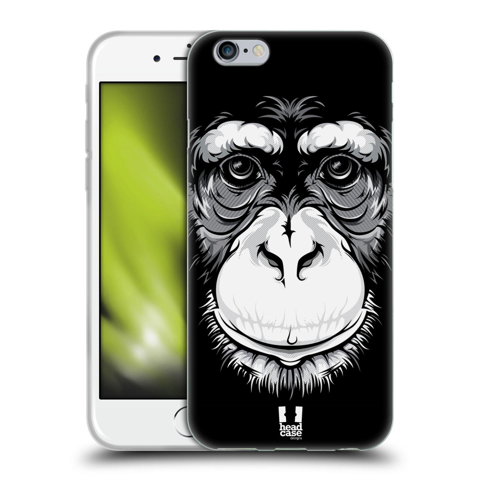 HEAD CASE silikonový obal na mobil Apple Iphone 6/6S vzor Zvíře kreslená tvář šimpanz