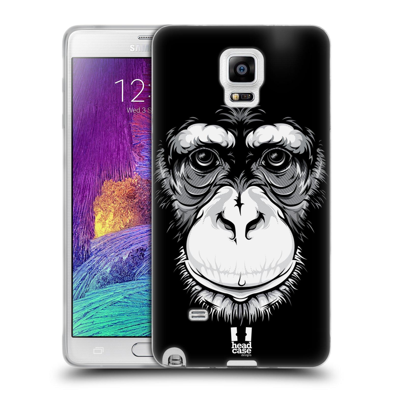 HEAD CASE silikonový obal na mobil Samsung Galaxy Note 4 (N910) vzor Zvíře kreslená tvář šimpanz
