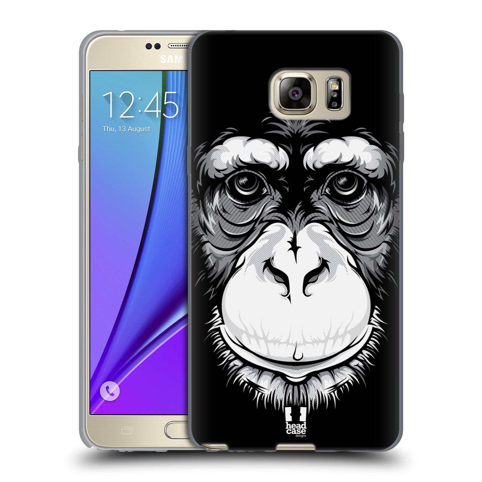 HEAD CASE silikonový obal na mobil Samsung Galaxy Note 5 (N920) vzor Zvíře kreslená tvář šimpanz