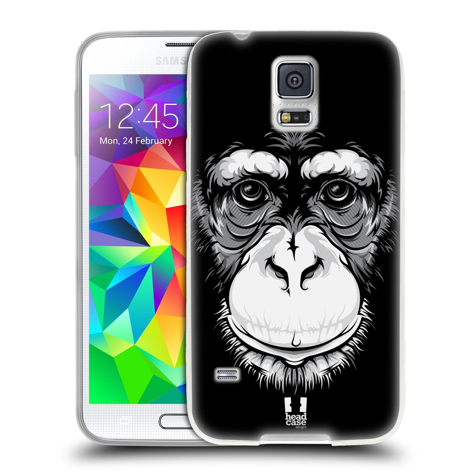 HEAD CASE silikonový obal na mobil Samsung Galaxy S5/S5 NEO vzor Zvíře kreslená tvář šimpanz