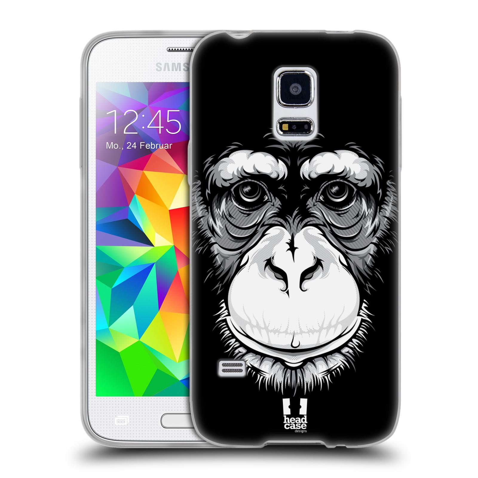HEAD CASE silikonový obal na mobil Samsung Galaxy S5 MINI vzor Zvíře kreslená tvář šimpanz