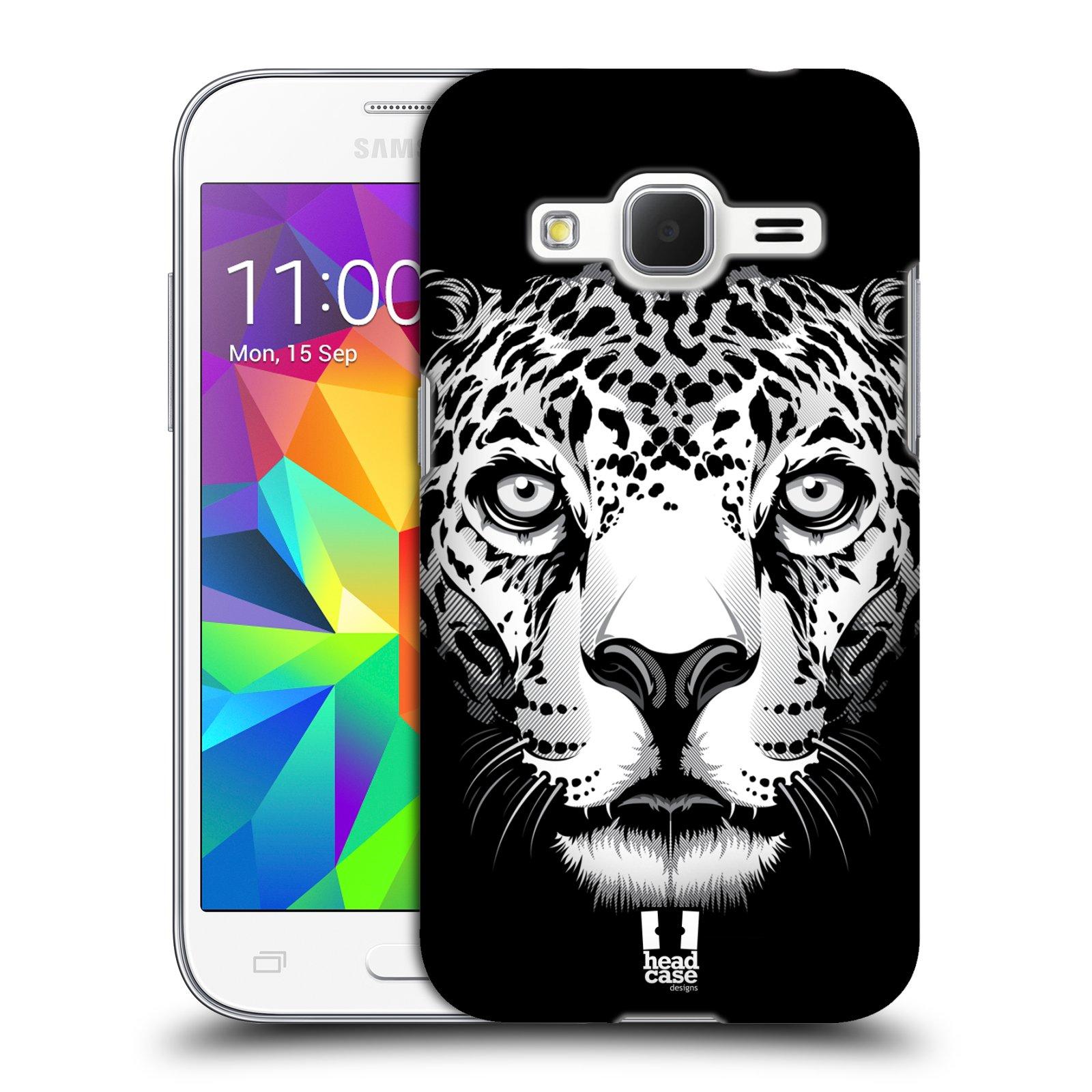 HEAD CASE plastový obal na mobil SAMSUNG GALAXY Core Prime (Core Prime VE) vzor Zvíře kreslená tvář leopard