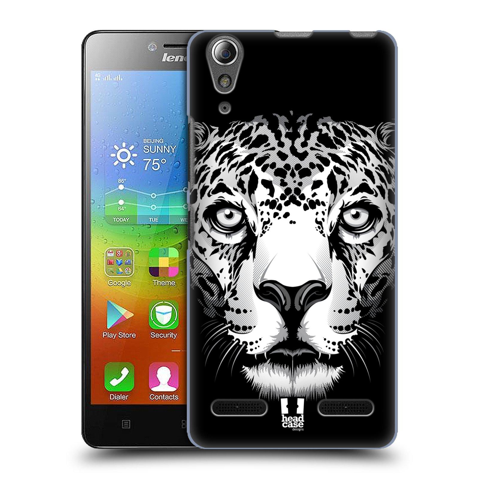 HEAD CASE pevný plastový obal na mobil LENOVO A6000 / A6000 PLUS vzor Zvíře kreslená tvář leopard