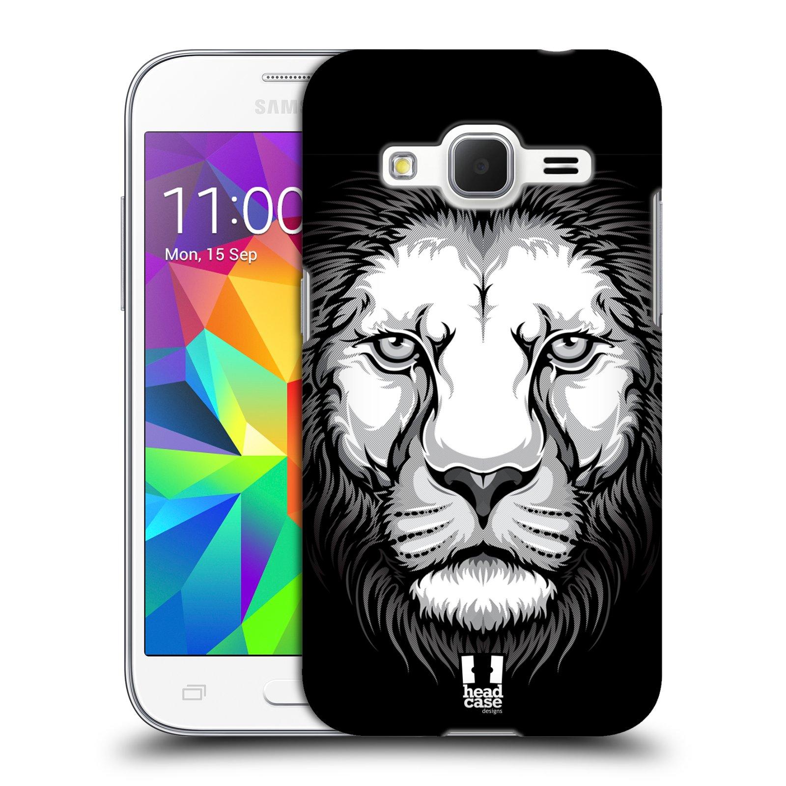 HEAD CASE plastový obal na mobil SAMSUNG GALAXY Core Prime (Core Prime VE) vzor Zvíře kreslená tvář lev