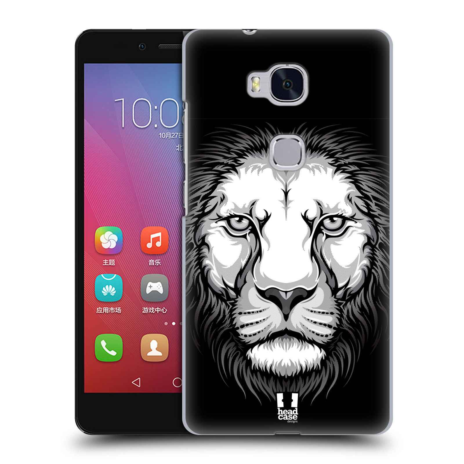 HEAD CASE pevný plastový obal na mobil HUAWEI HONOR 5X vzor Zvíře kreslená tvář lev