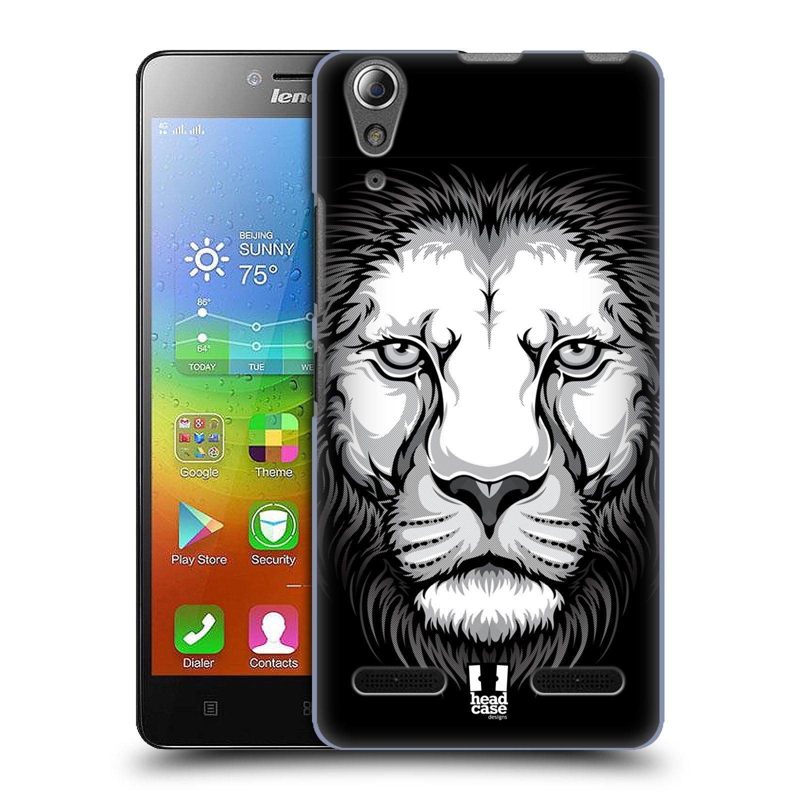 HEAD CASE pevný plastový obal na mobil LENOVO A6000 / A6000 PLUS vzor Zvíře kreslená tvář lev