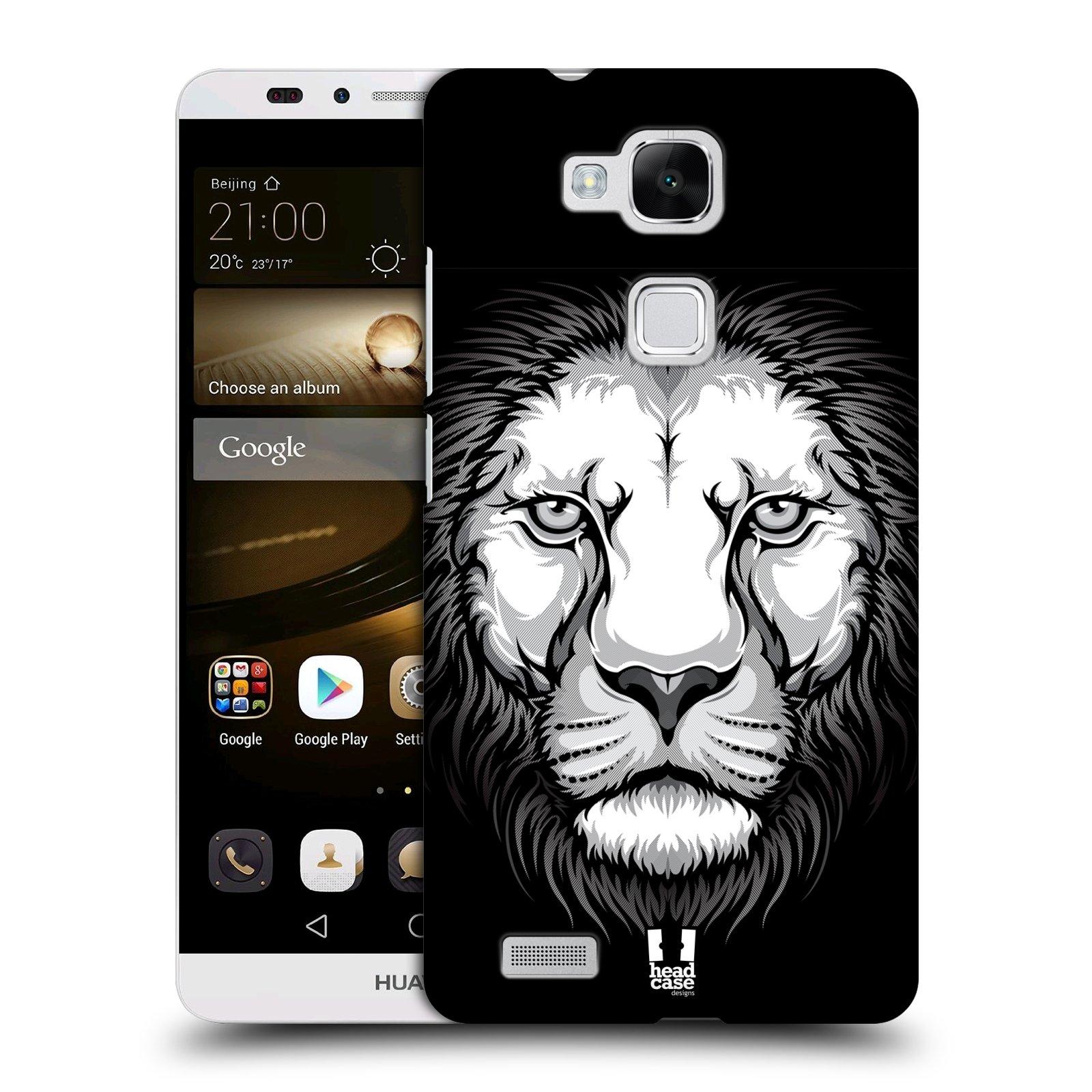 HEAD CASE plastový obal na mobil Huawei Mate 7 vzor Zvíře kreslená tvář lev