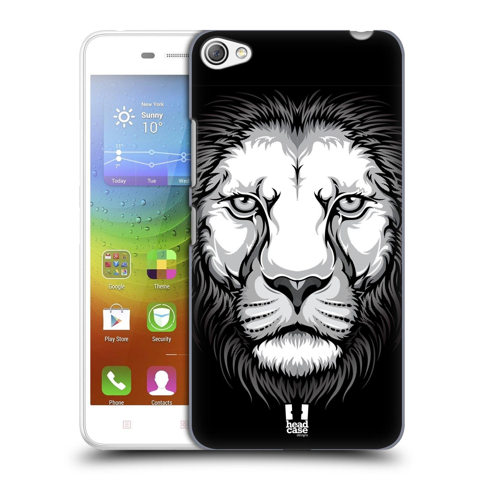 HEAD CASE pevný plastový obal na mobil LENOVO S60 / LENOVO S60 DUAL SIM vzor Zvíře kreslená tvář lev