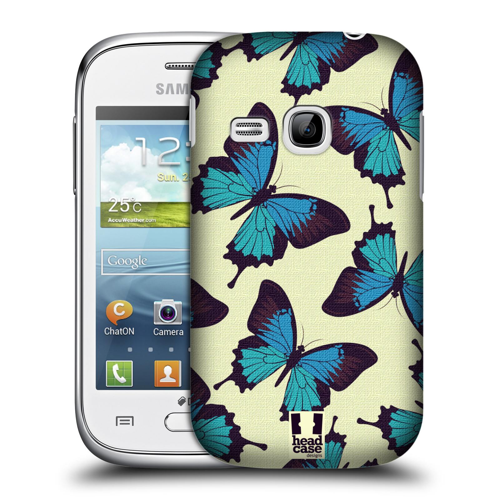 HEAD CASE plastový obal na mobil SAMSUNG Galaxy Young S6310 vzor Motýlci modrá
