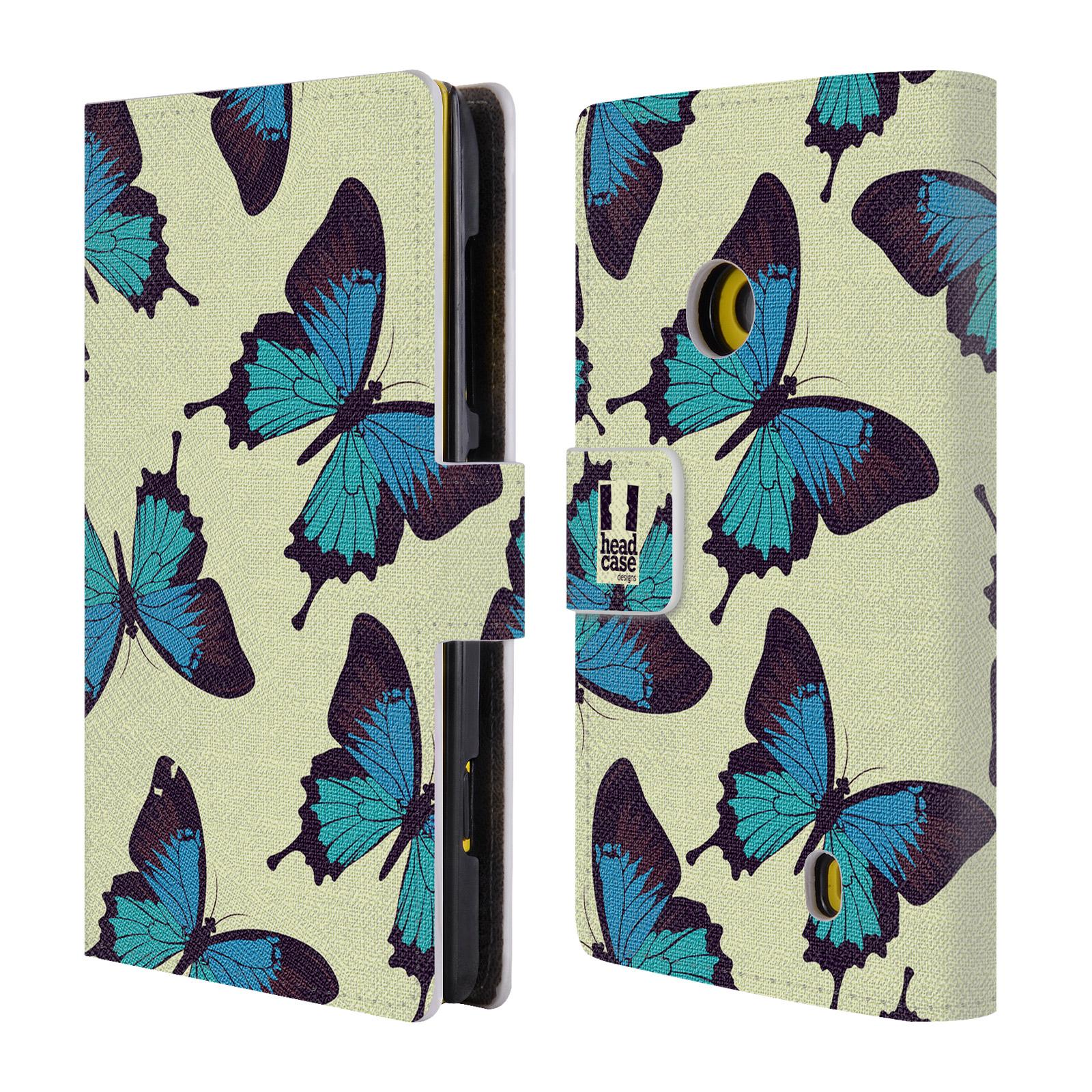 HEAD CASE Flipové pouzdro pro mobil NOKIA LUMIA 520 / 525 Vzorkovaný motýl modrá