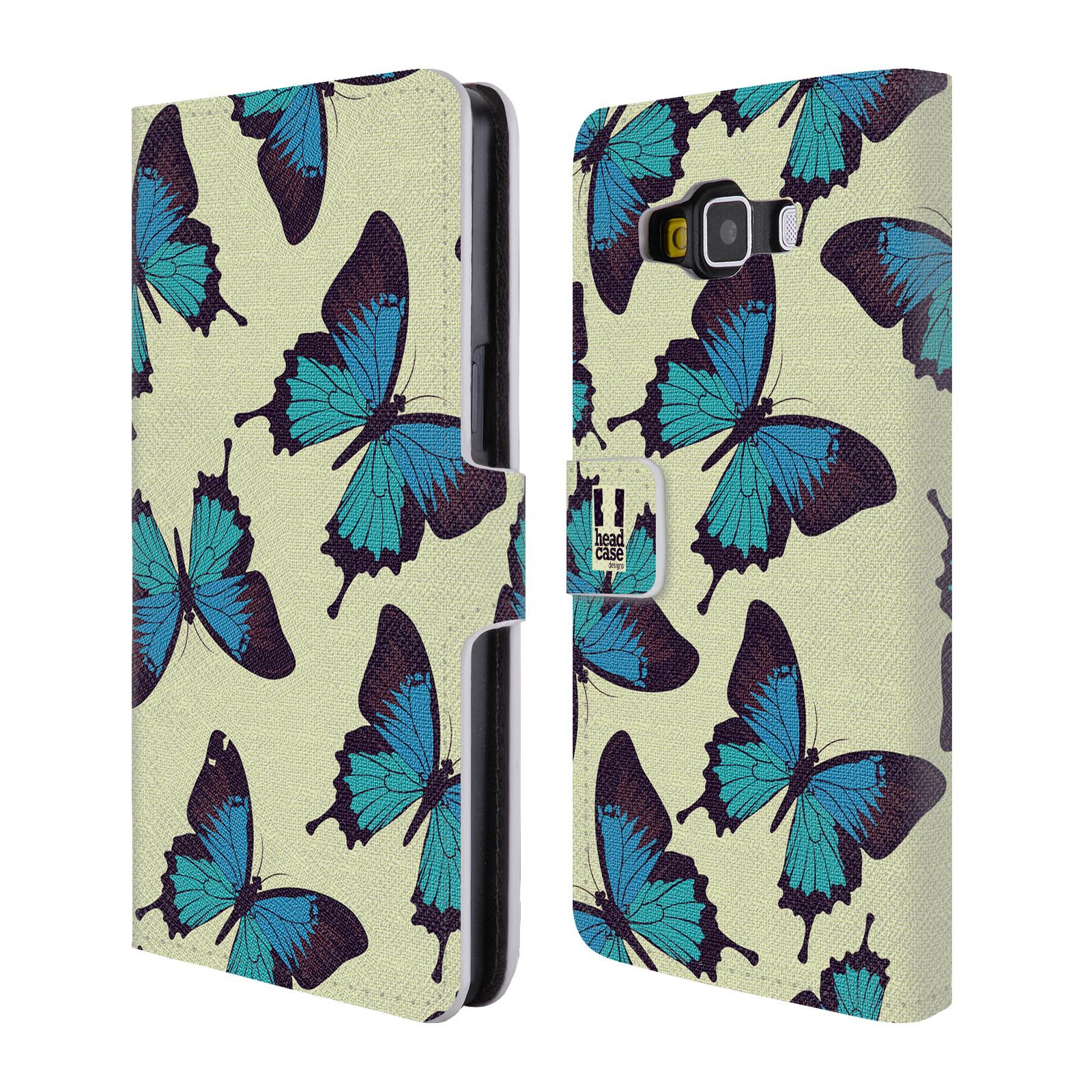 HEAD CASE Flipové pouzdro pro mobil Samsung Galaxy A5 Vzorkovaný motýl modrá