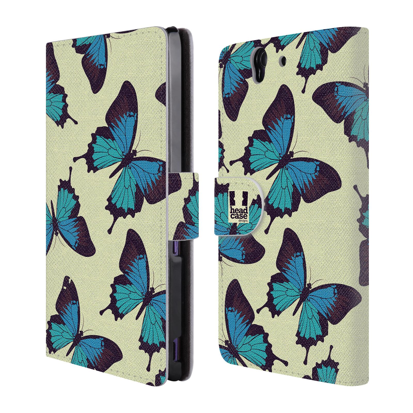 HEAD CASE Flipové pouzdro pro mobil SONY XPERIA Z (C6603) Vzorkovaný motýl modrá