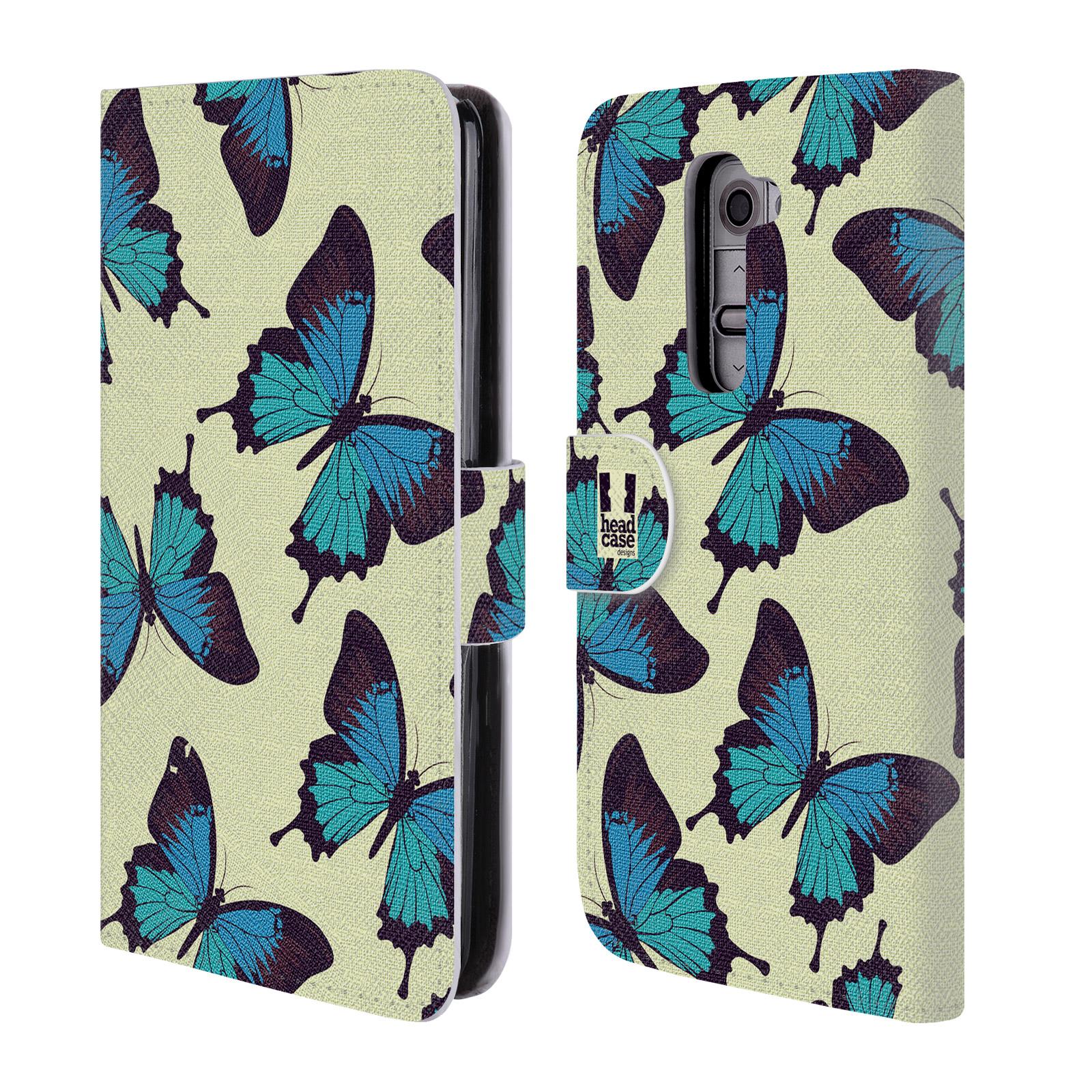HEAD CASE Flipové pouzdro pro mobil LG G2 (D802) Vzorkovaný motýl modrá