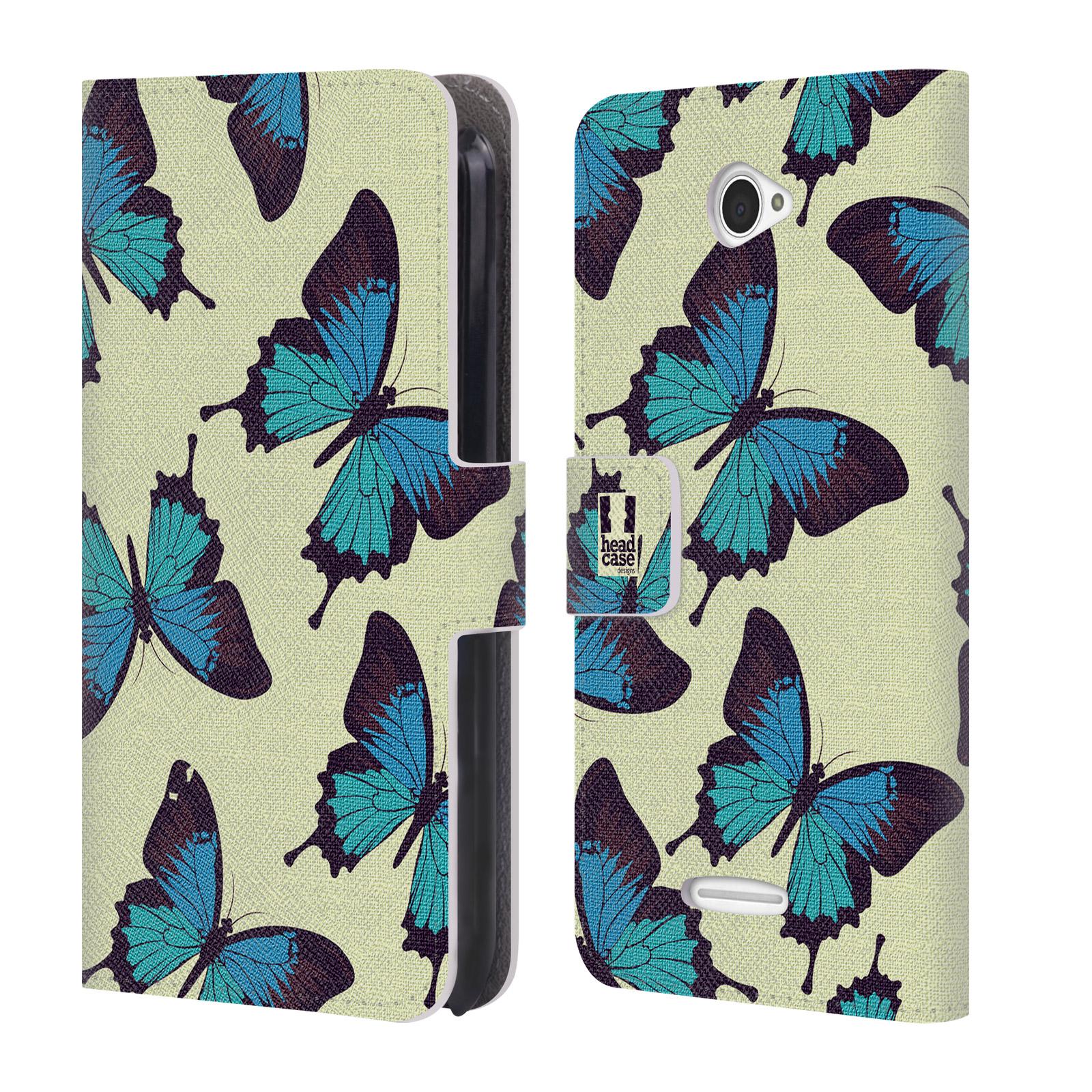 HEAD CASE Flipové pouzdro pro mobil SONY XPERIA E4 Vzorkovaný motýl modrá