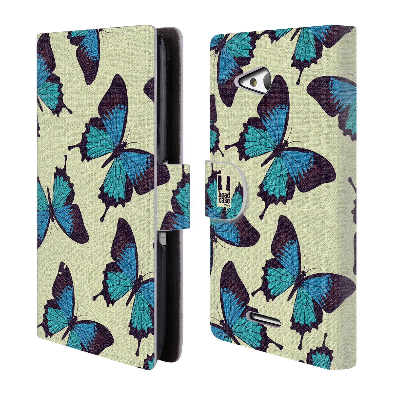 HEAD CASE Flipové pouzdro pro mobil SONY XPERIA E4g Vzorkovaný motýl modrá