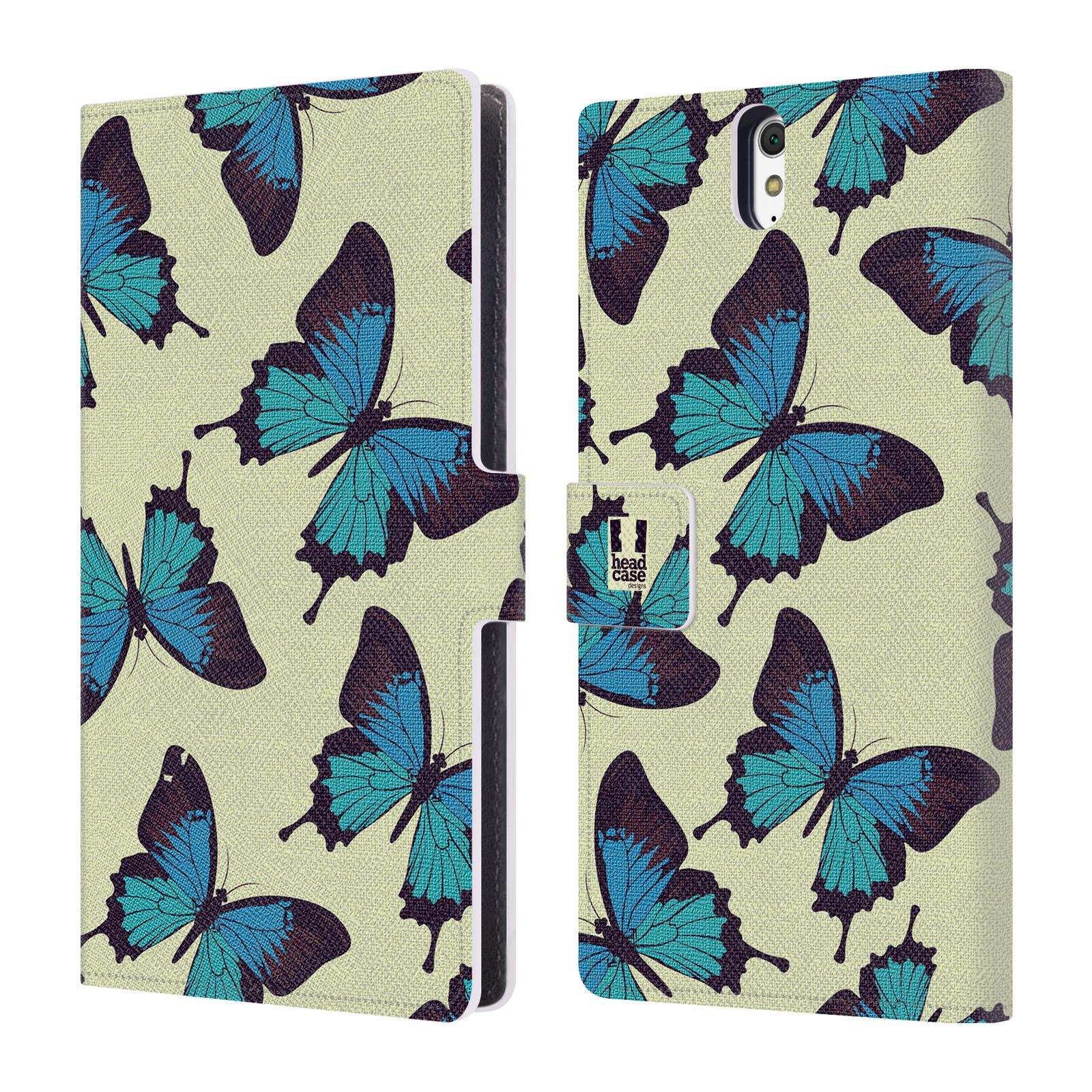 HEAD CASE Flipové pouzdro pro mobil SONY XPERIA C5 Ultra Vzorkovaný motýl modrá