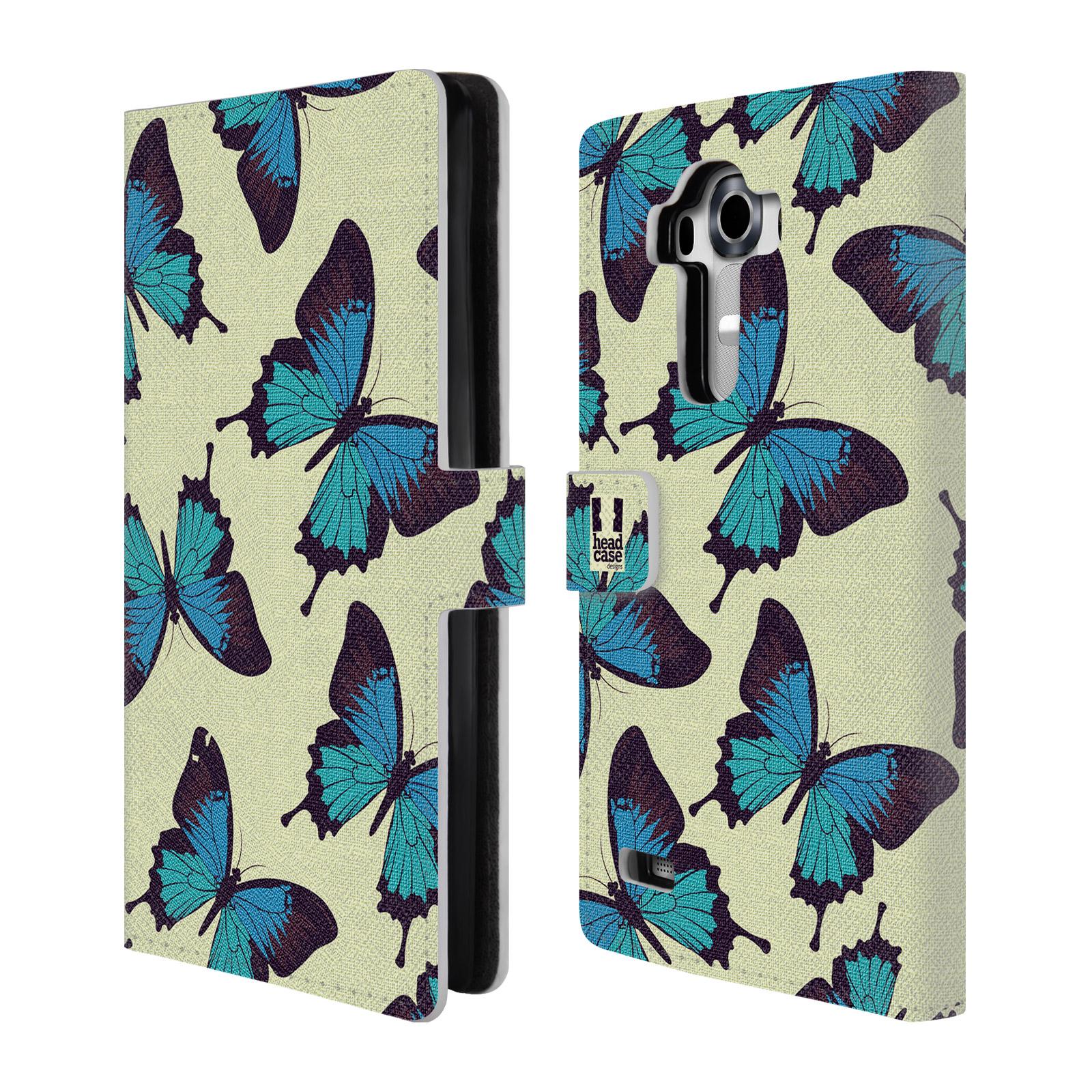 HEAD CASE Flipové pouzdro pro mobil LG G4 (H815) Vzorkovaný motýl modrá
