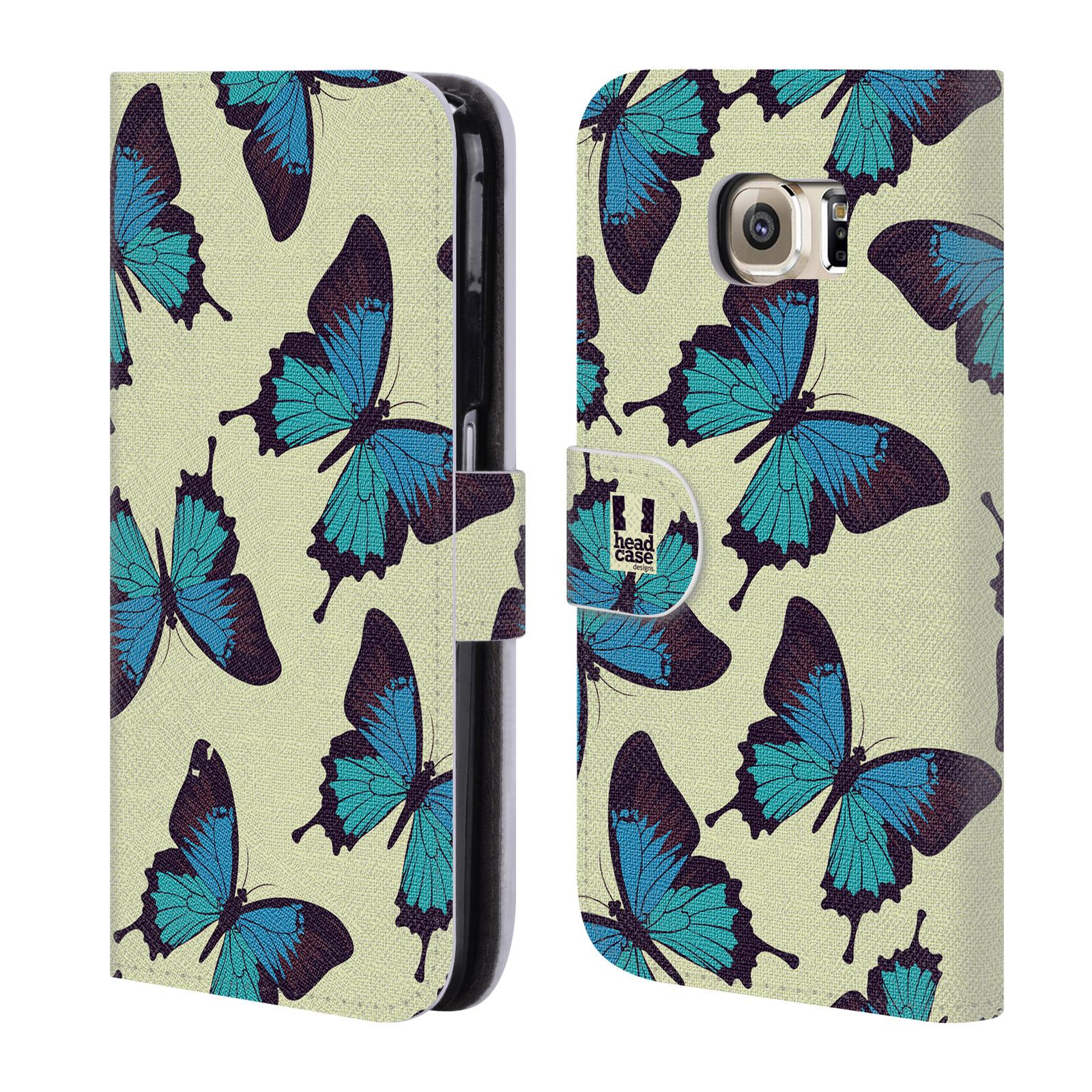 HEAD CASE Flipové pouzdro pro mobil Samsung Galaxy S6 (G9200) Vzorkovaný motýl modrá