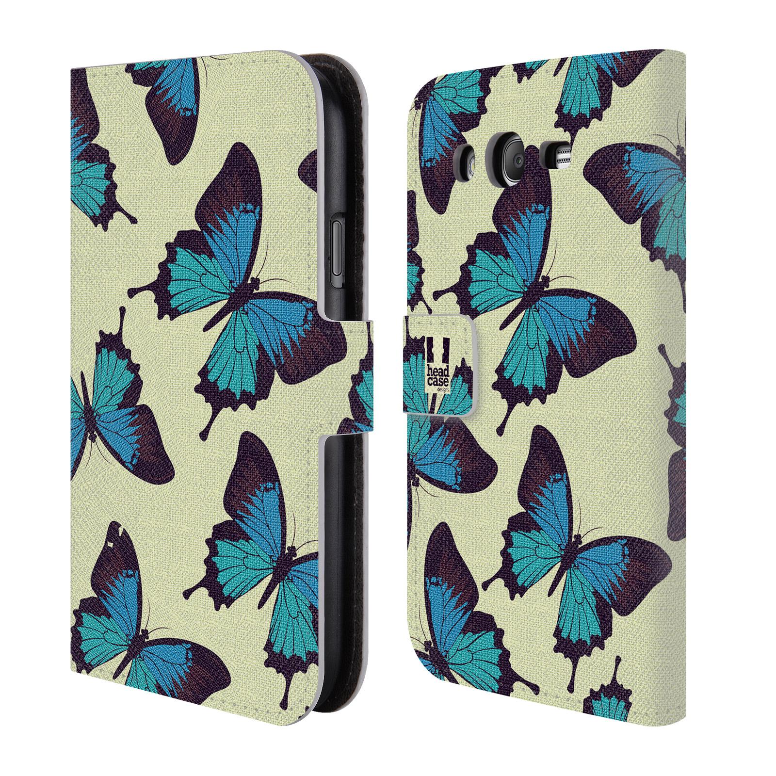 HEAD CASE Flipové pouzdro pro mobil Samsung Galaxy Grand i9080 Vzorkovaný motýl modrá