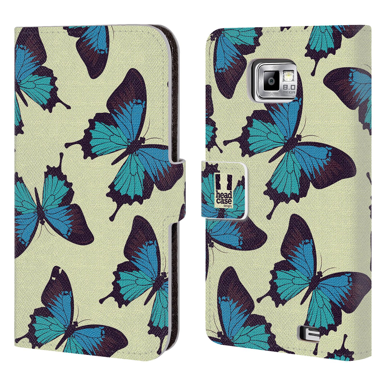 HEAD CASE Flipové pouzdro pro mobil Samsung Galaxy S2 i9100 Vzorkovaný motýl modrá