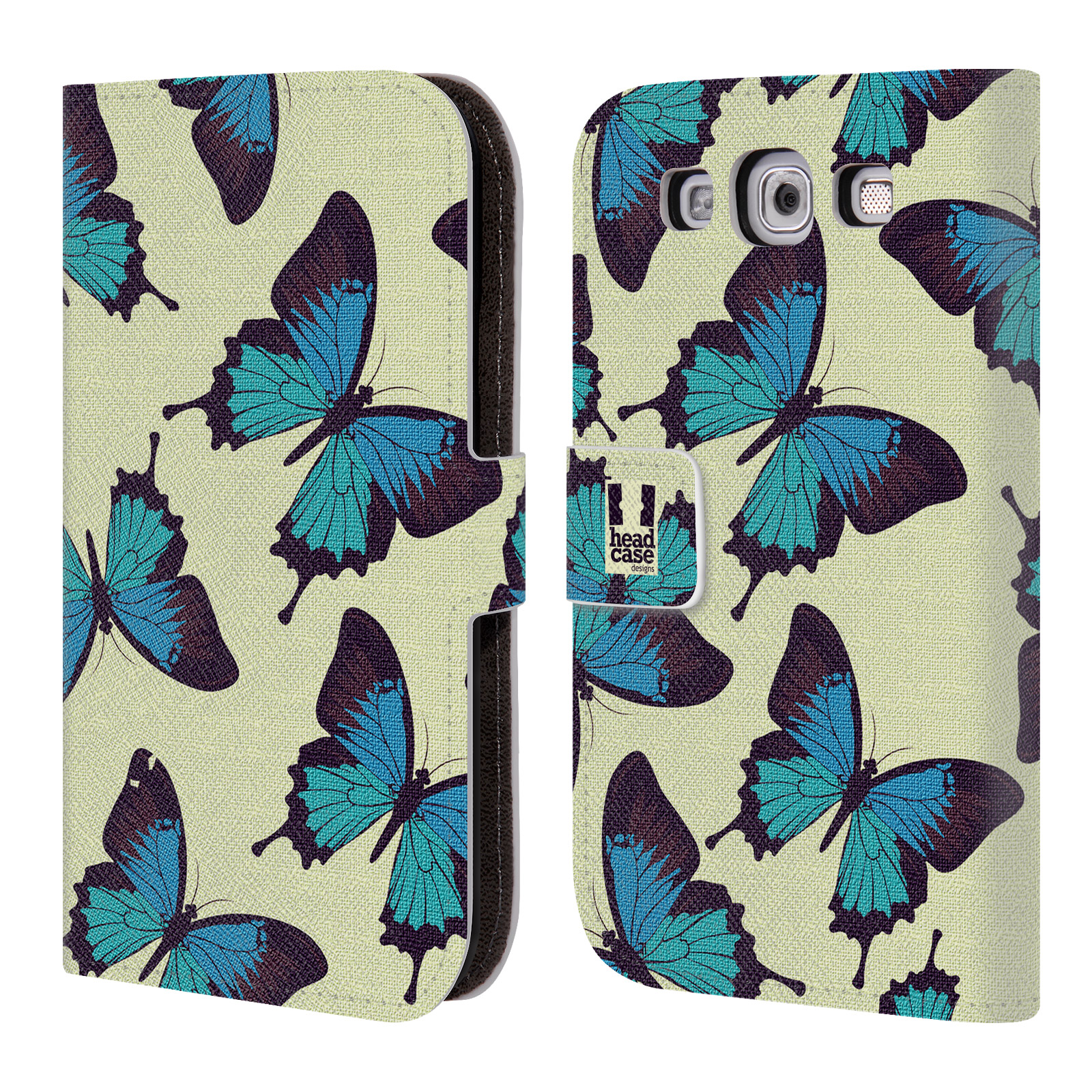 HEAD CASE Flipové pouzdro pro mobil Samsung Galaxy S3 Vzorkovaný motýl modrá
