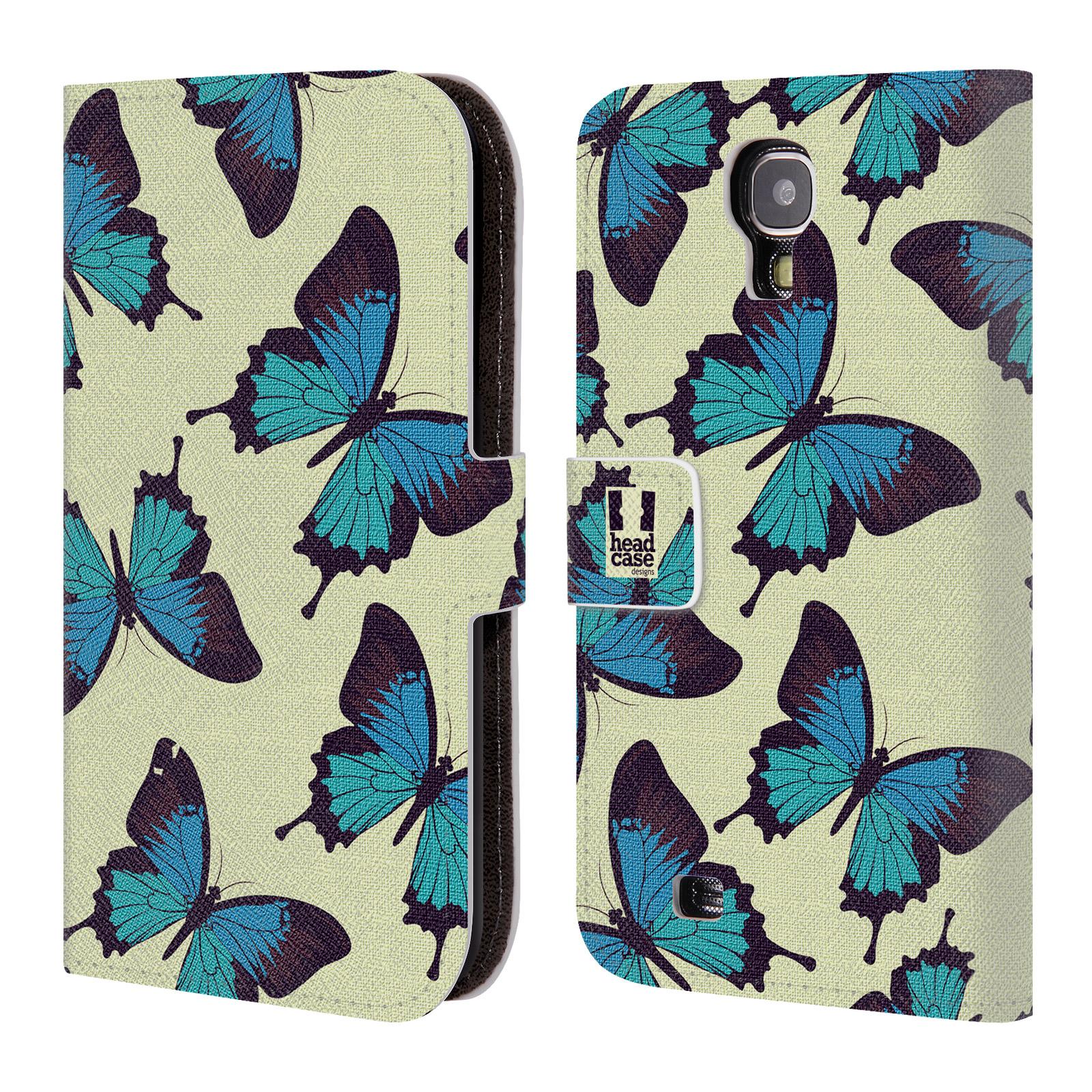 HEAD CASE Flipové pouzdro pro mobil Samsung Galaxy S4 Vzorkovaný motýl modrá
