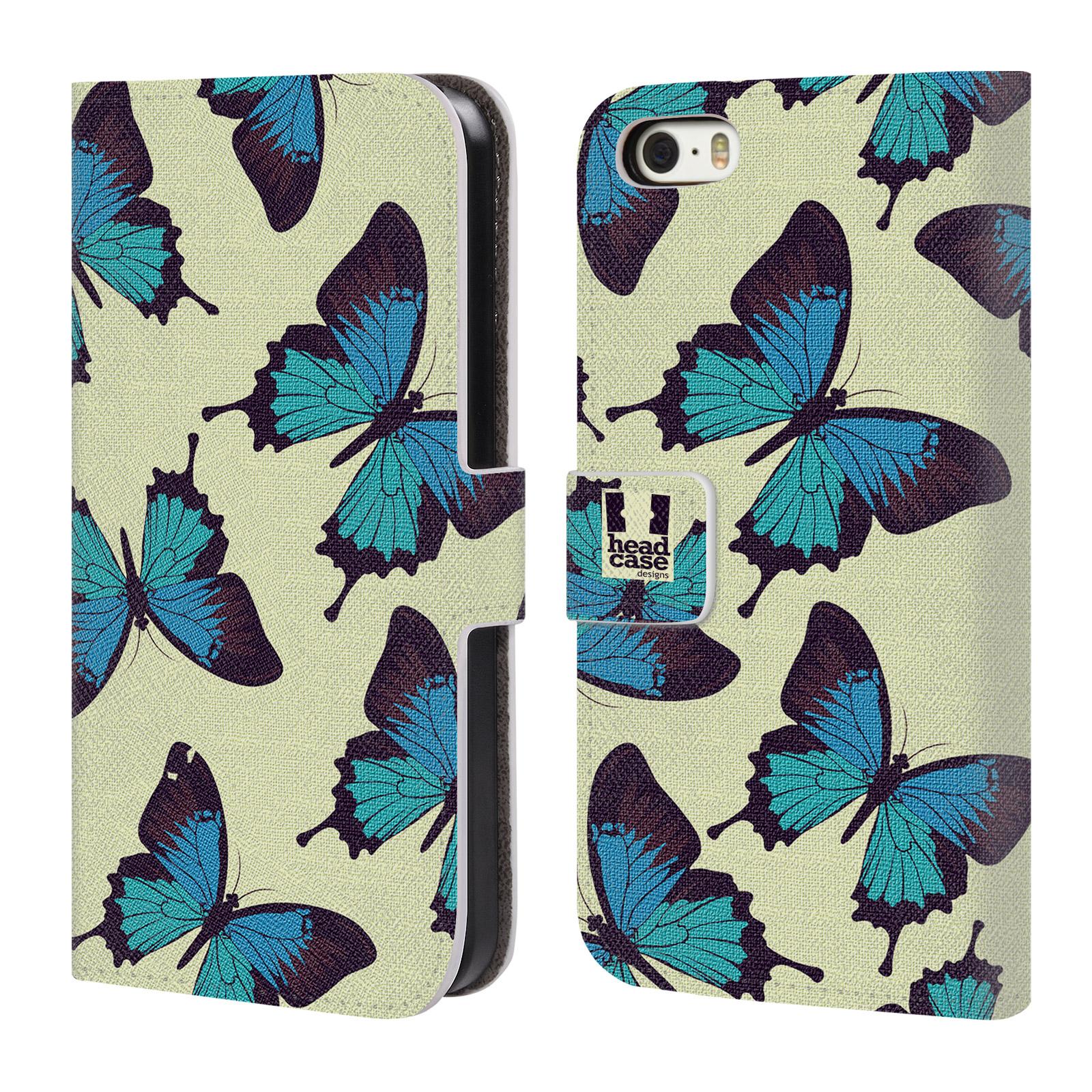 HEAD CASE Flipové pouzdro pro mobil Apple Iphone 5/5s Vzorkovaný motýl modrá