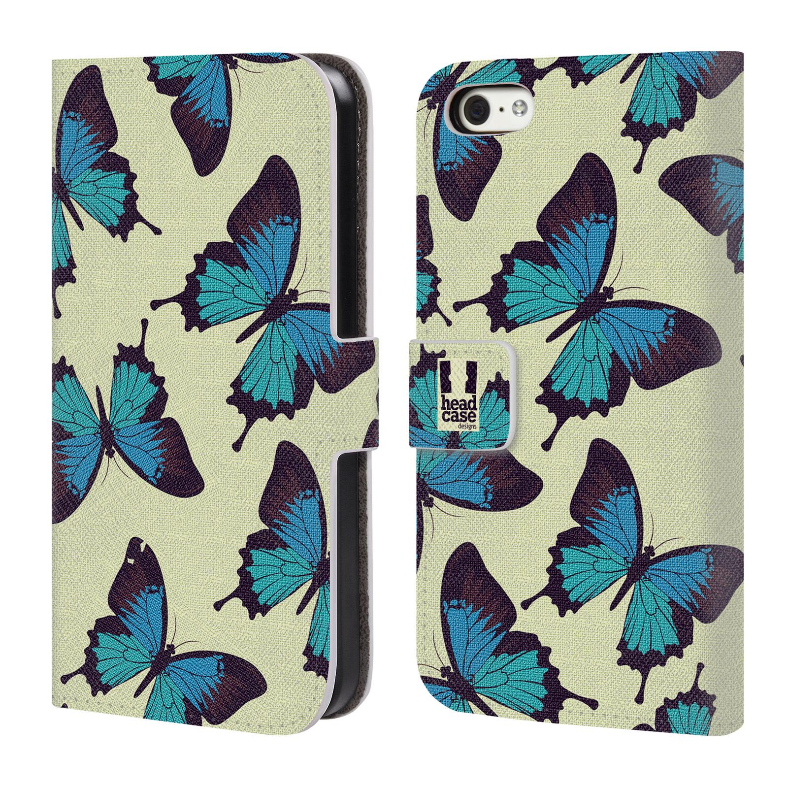 HEAD CASE Flipové pouzdro pro mobil Apple Iphone 5C Vzorkovaný motýl modrá