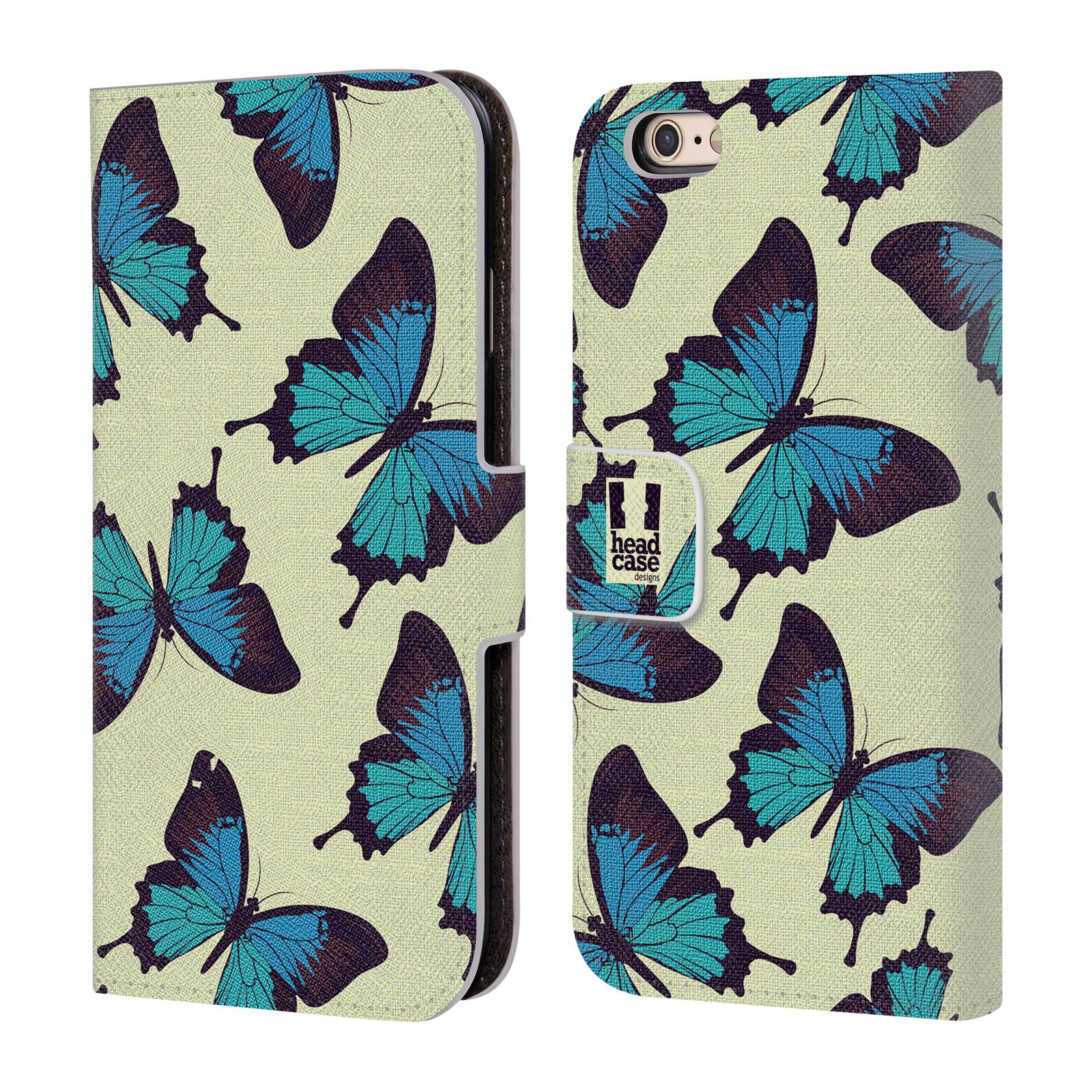 HEAD CASE Flipové pouzdro pro mobil Apple Iphone 6/6s Vzorkovaný motýl modrá