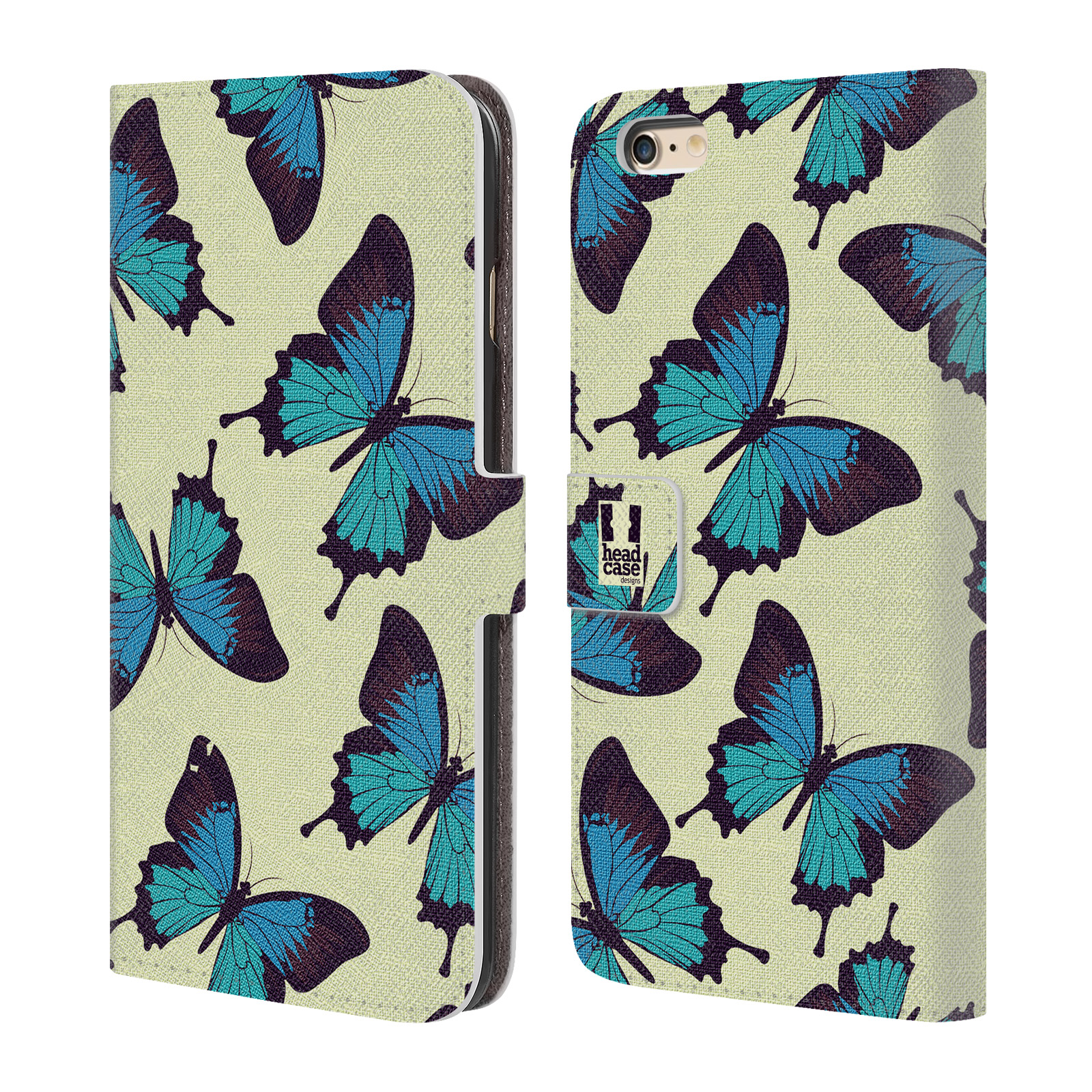 HEAD CASE Flipové pouzdro pro mobil Apple Iphone 6 PLUS / 6S PLUS Vzorkovaný motýl modrá