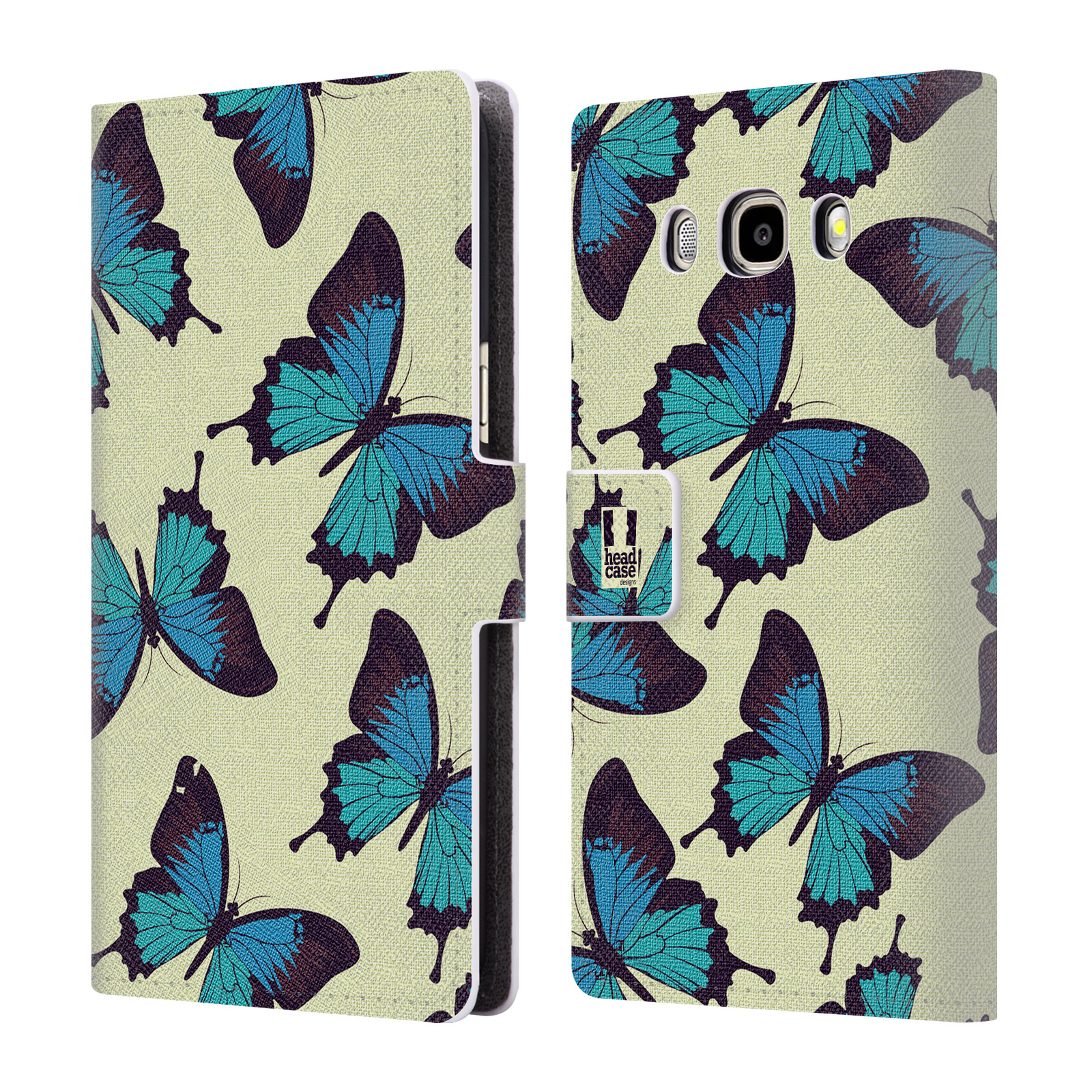 HEAD CASE Flipové pouzdro pro mobil Samsung Galaxy J5 2016 Vzorkovaný motýl modrá