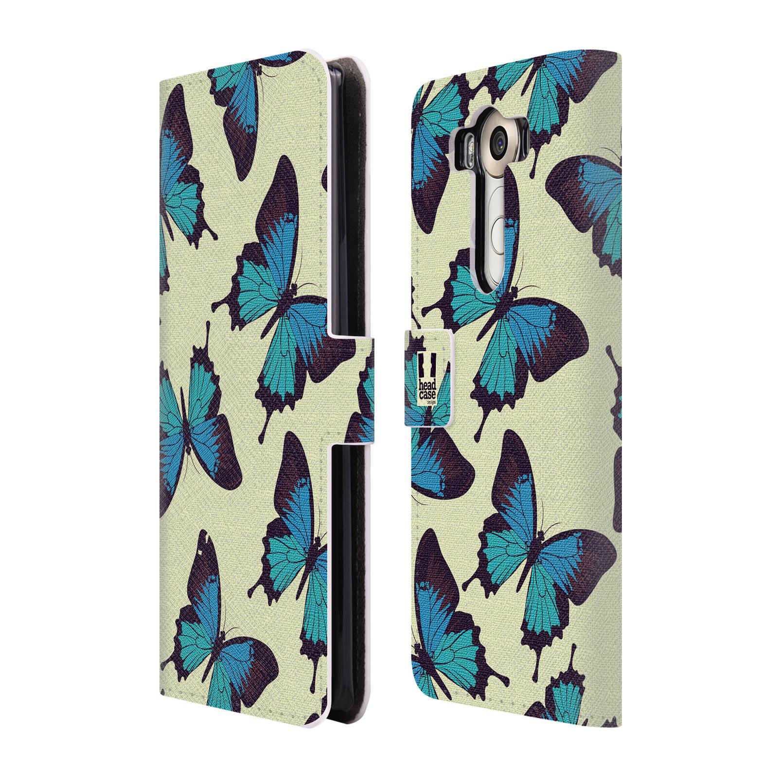 HEAD CASE Flipové pouzdro pro mobil LG V10 Vzorkovaný motýl modrá