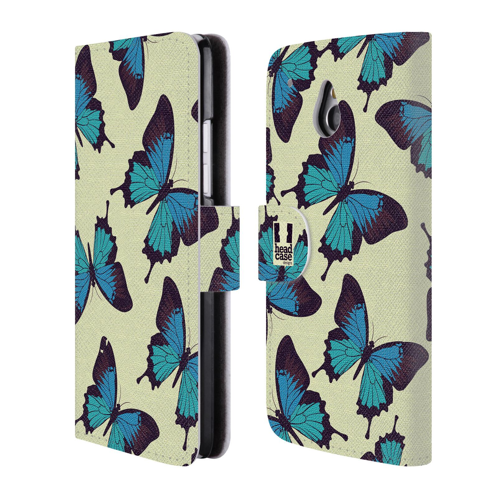 HEAD CASE Flipové pouzdro pro mobil HTC ONE MINI (M4) Vzorkovaný motýl modrá