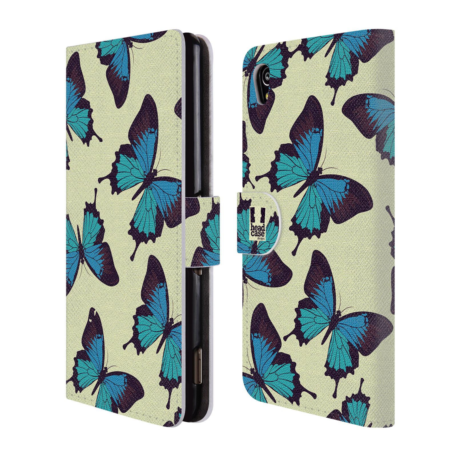 HEAD CASE Flipové pouzdro pro mobil SONY XPERIA M4 AQUA Vzorkovaný motýl modrá