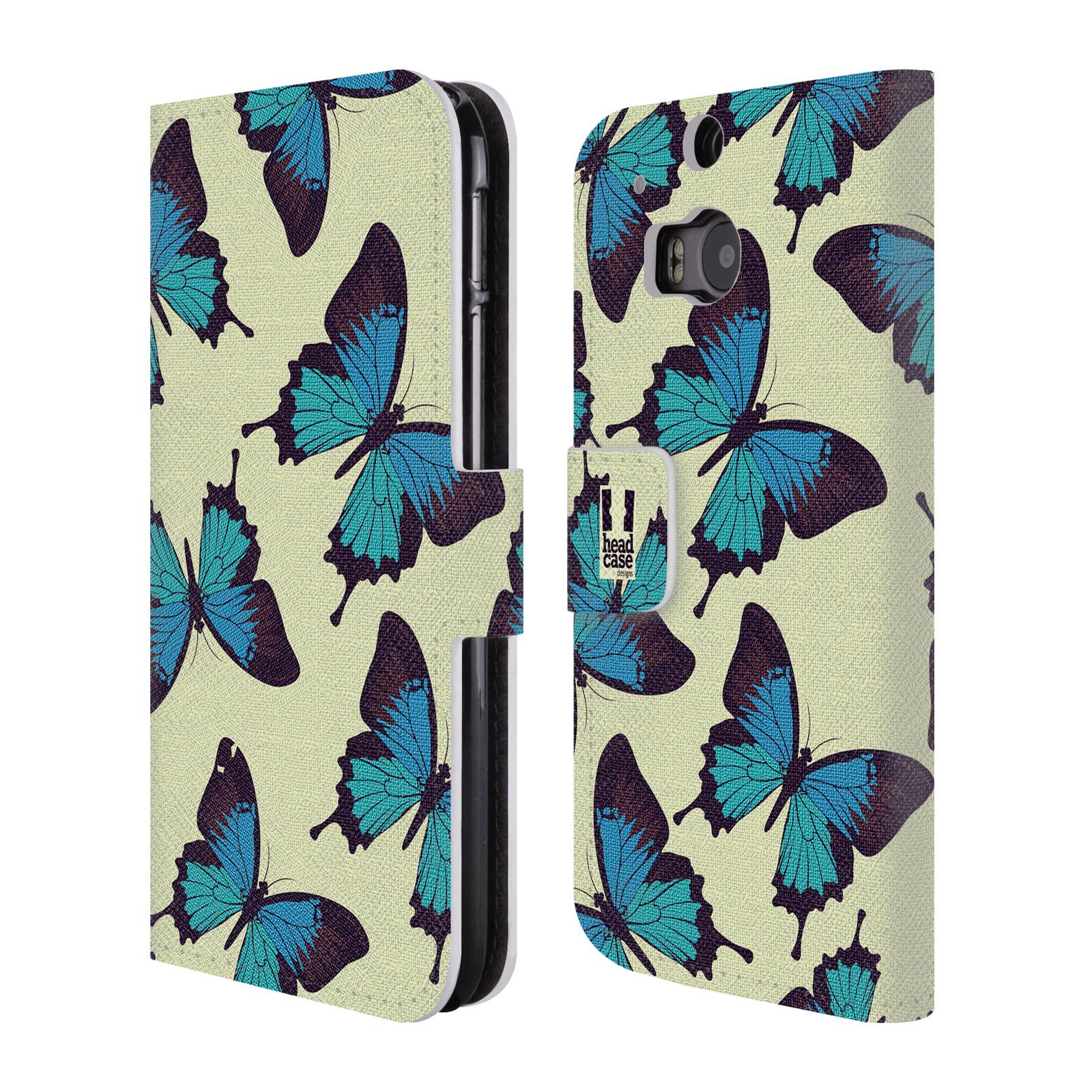 HEAD CASE Flipové pouzdro pro mobil HTC ONE (M8, M8s) Vzorkovaný motýl modrá