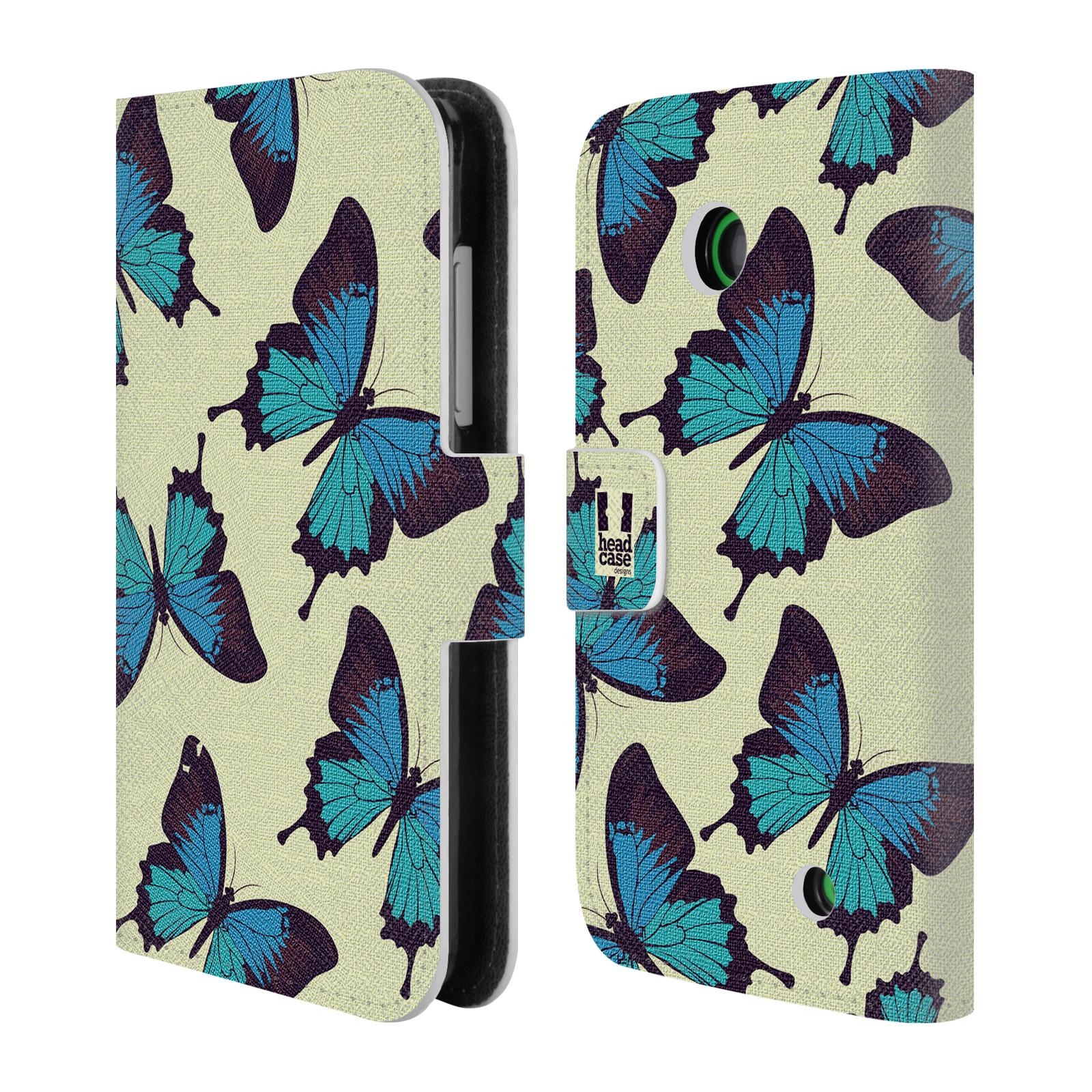 HEAD CASE Flipové pouzdro pro mobil NOKIA LUMIA 630 / LUMIA 630 DUAL Vzorkovaný motýl modrá