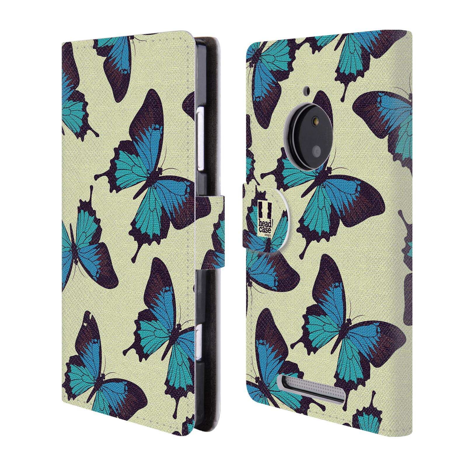 HEAD CASE Flipové pouzdro pro mobil NOKIA LUMIA 830 Vzorkovaný motýl modrá