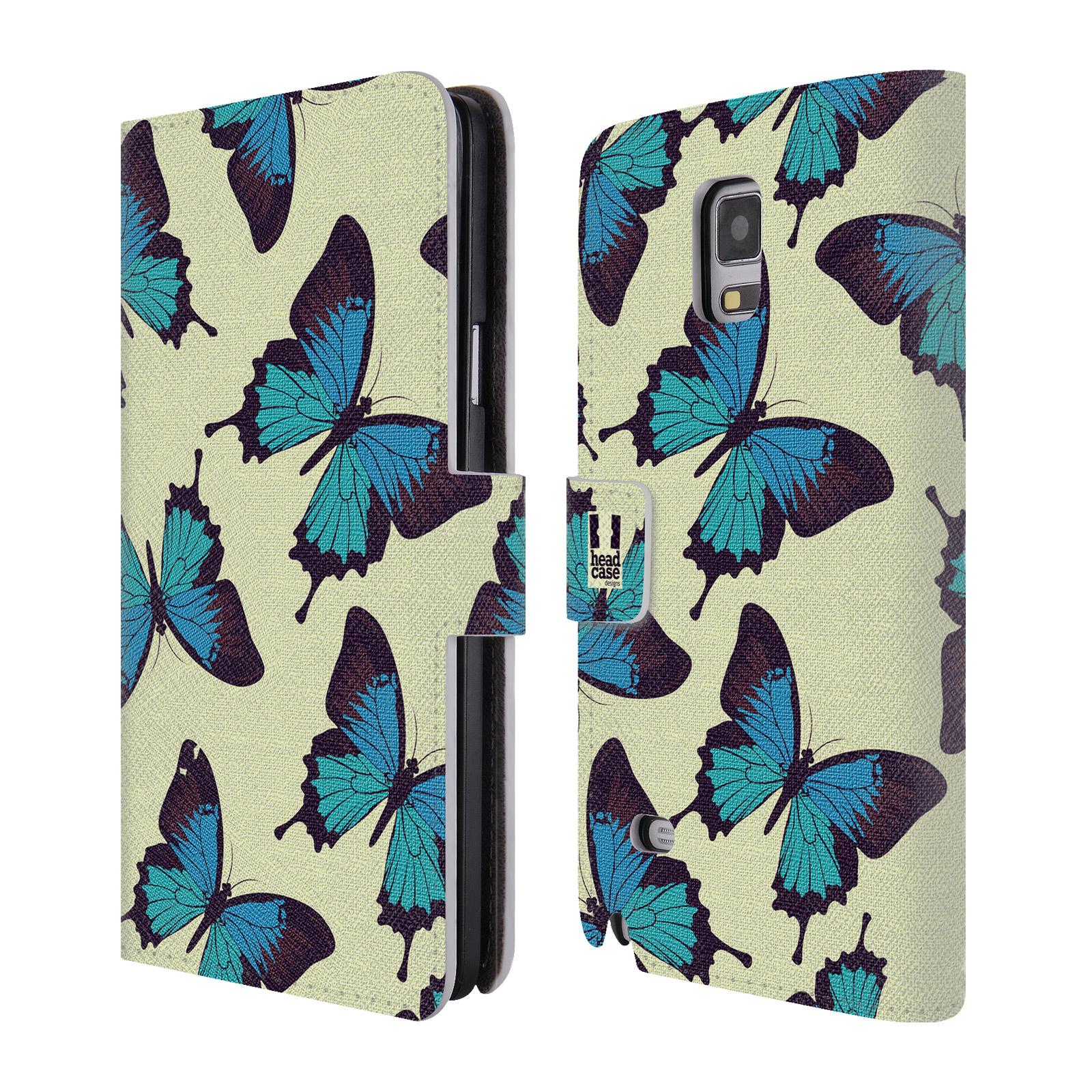 HEAD CASE Flipové pouzdro pro mobil Samsung Galaxy Note 4 Vzorkovaný motýl modrá