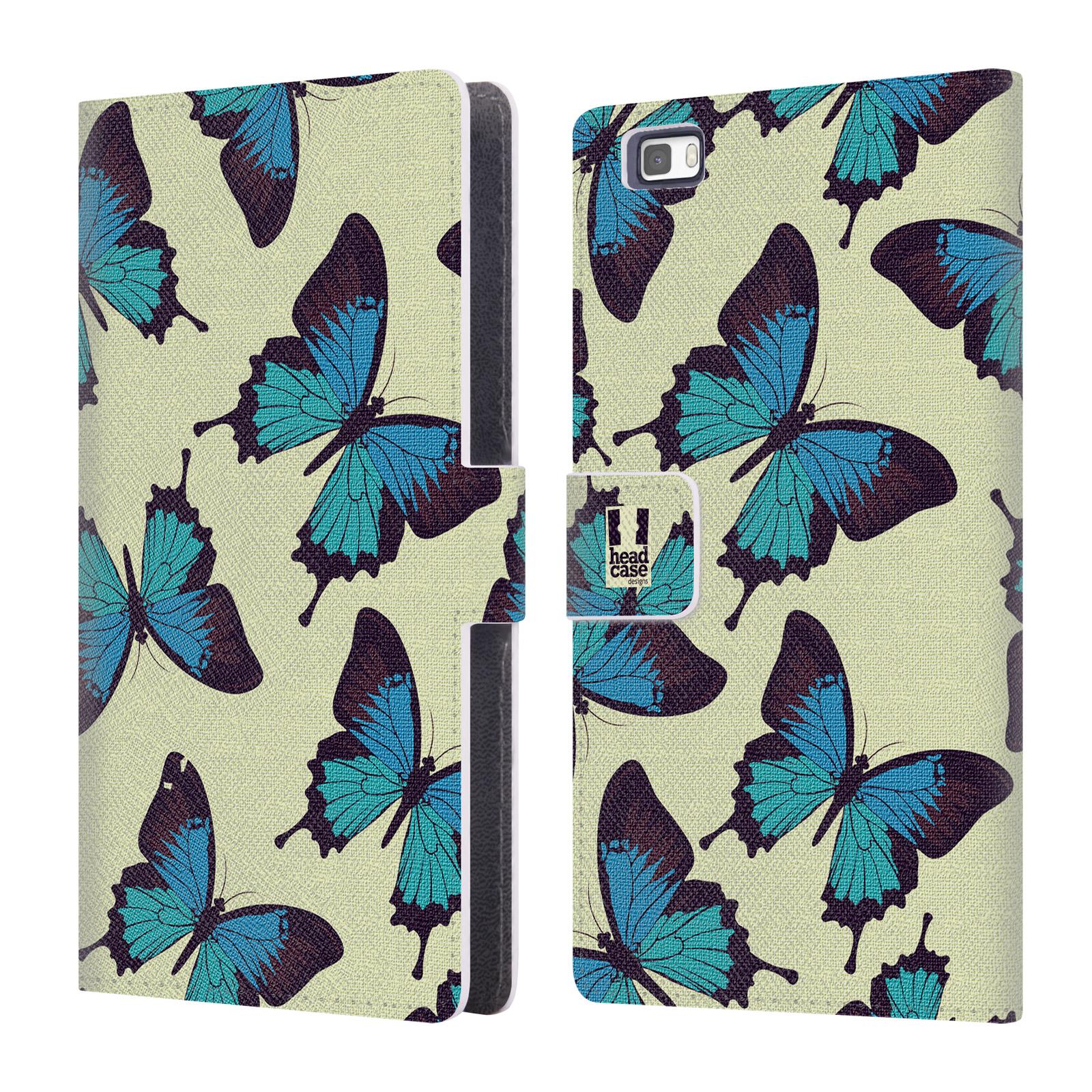 HEAD CASE Flipové pouzdro pro mobil Huawei P8 LITE Vzorkovaný motýl modrá