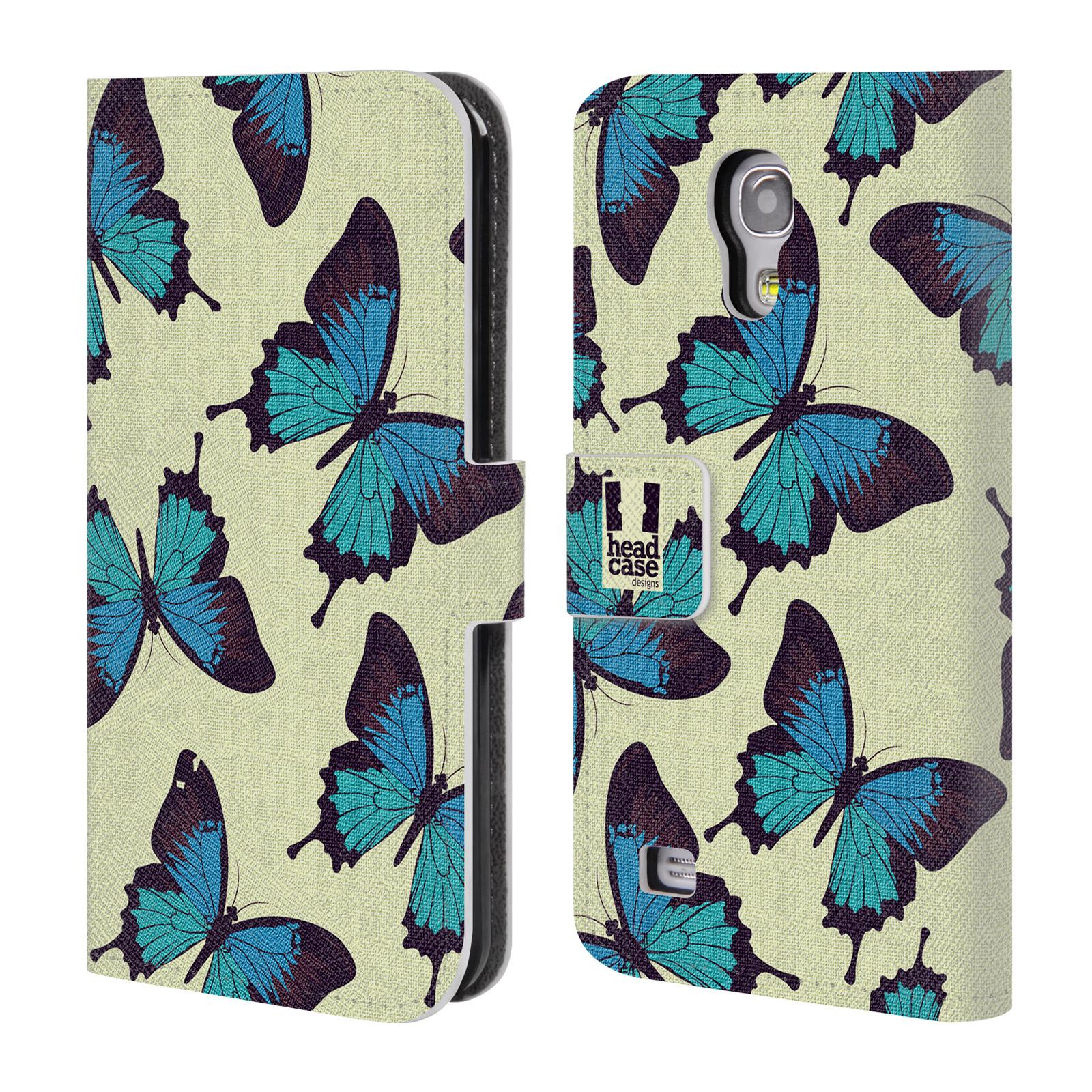 HEAD CASE Flipové pouzdro pro mobil Samsung Galaxy S4 MINI / S4 MINI DUOS Vzorkovaný motýl modrá