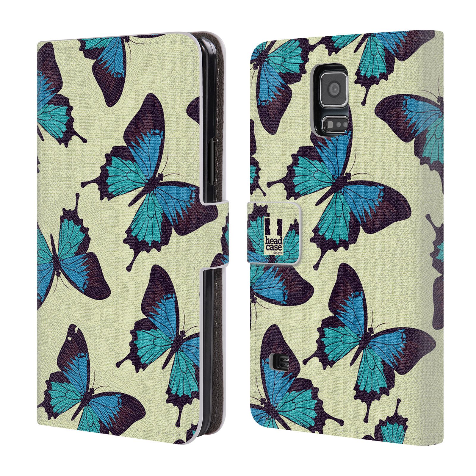 HEAD CASE Flipové pouzdro pro mobil Samsung Galaxy S5 / S5 NEO Vzorkovaný motýl modrá
