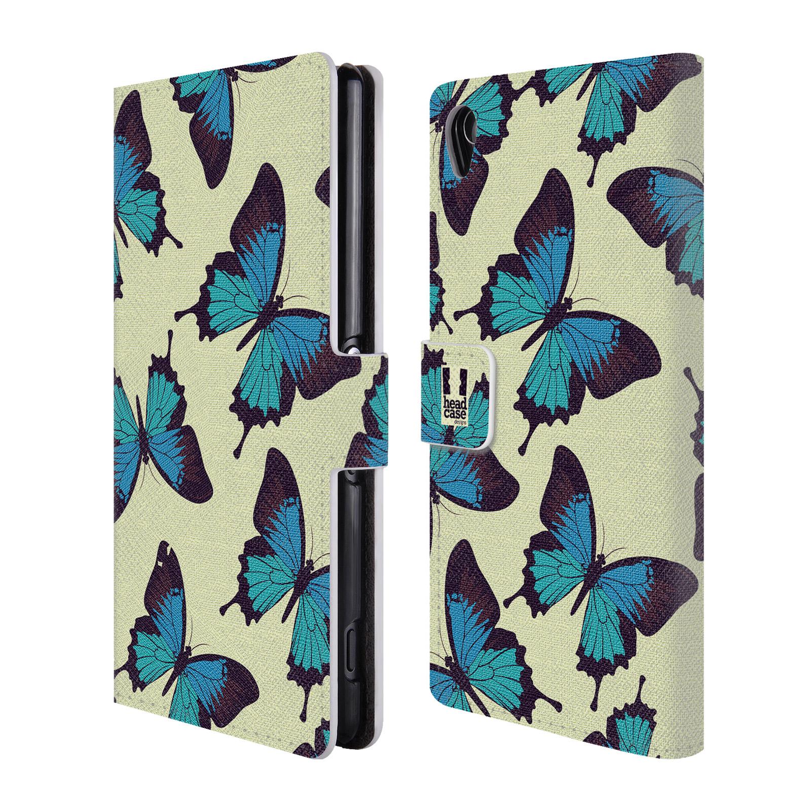 HEAD CASE Flipové pouzdro pro mobil SONY XPERIA Z3 Vzorkovaný motýl modrá