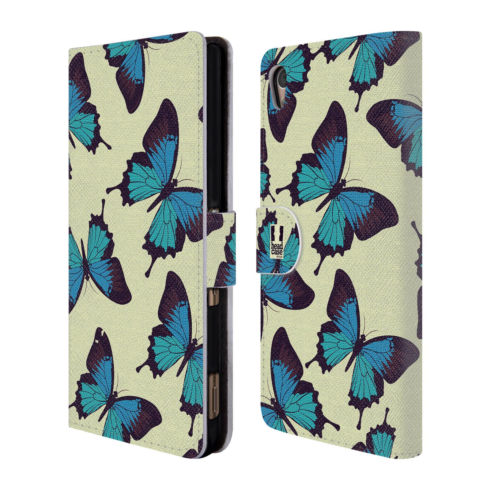 HEAD CASE Flipové pouzdro pro mobil SONY XPERIA Z3+ (PLUS) Vzorkovaný motýl modrá