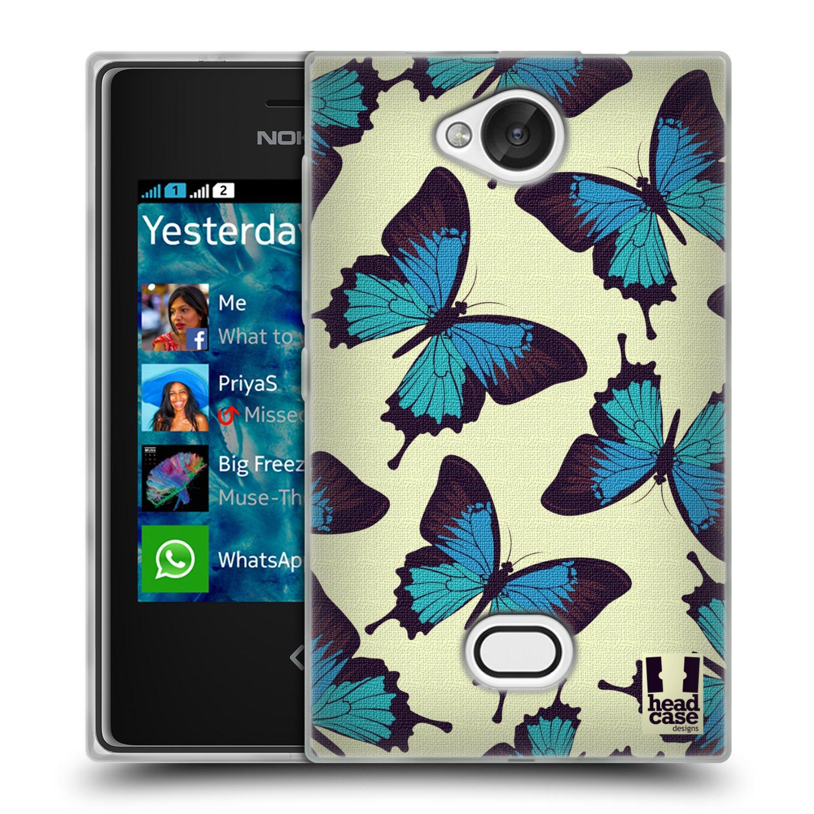 HEAD CASE silikonový obal na mobil NOKIA Asha 503 vzor Motýlci modrá