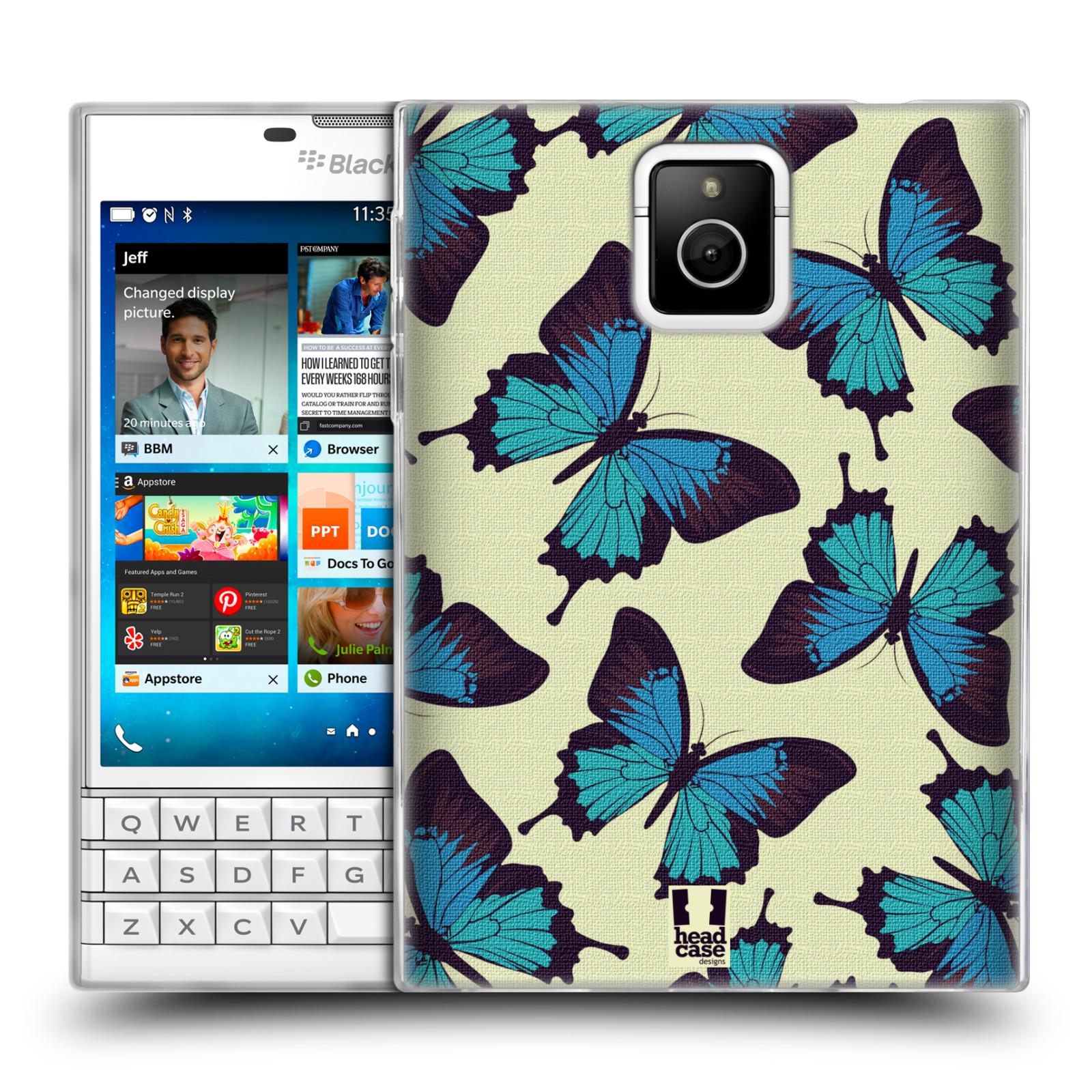 HEAD CASE silikonový obal na mobil Blackberry PASSPORT vzor Motýlci modrá