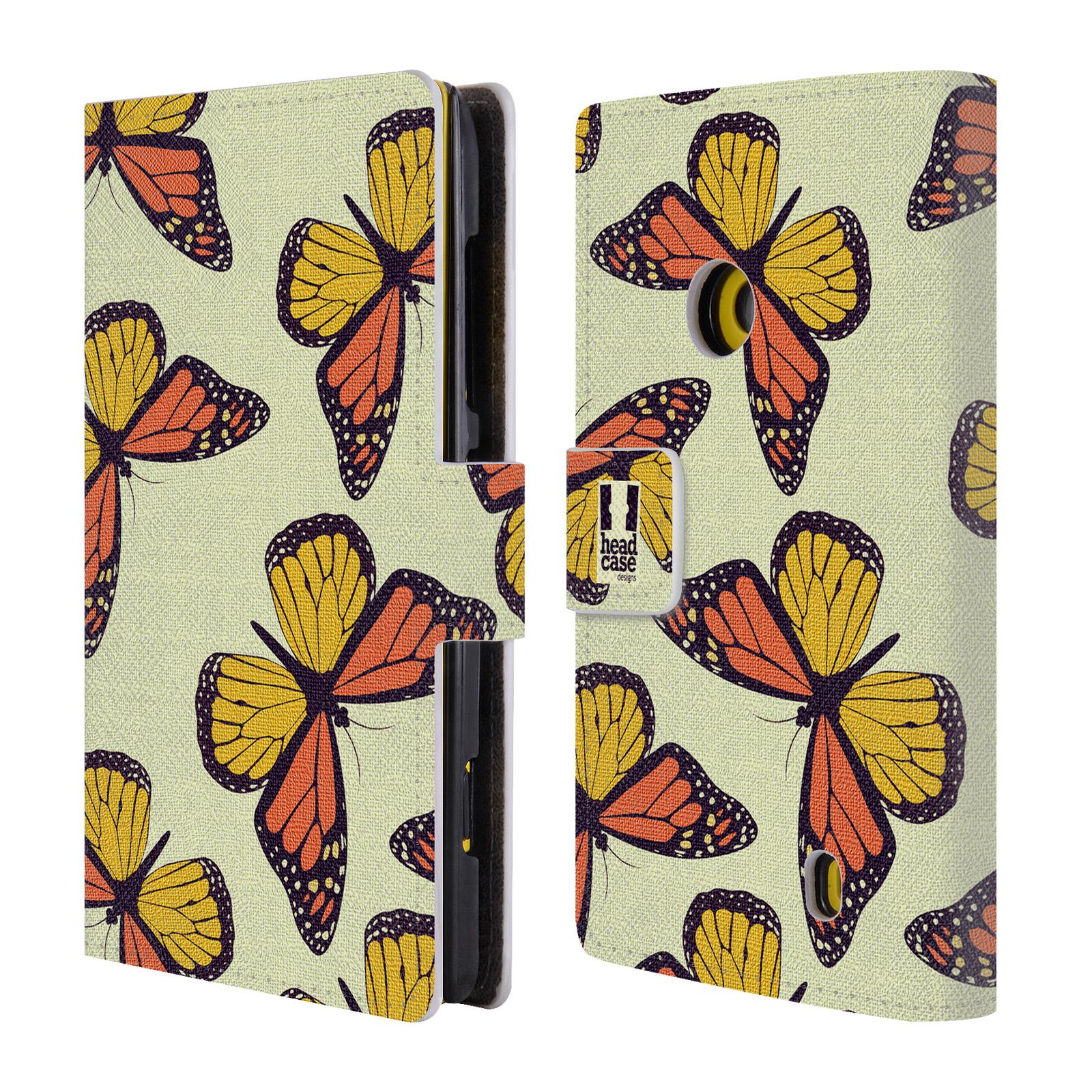 HEAD CASE Flipové pouzdro pro mobil NOKIA LUMIA 520 / 525 Vzorkovaný motýl Monarcha oranžová