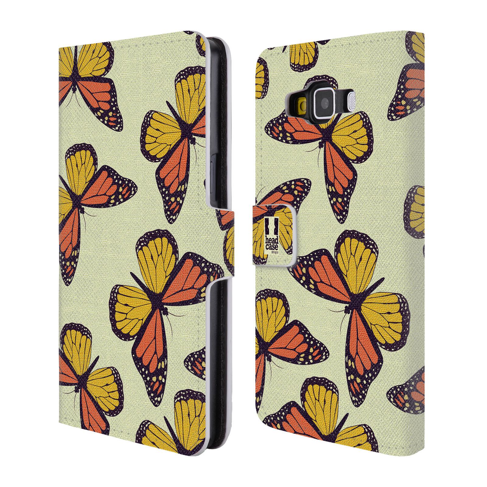 HEAD CASE Flipové pouzdro pro mobil Samsung Galaxy A5 Vzorkovaný motýl Monarcha oranžová