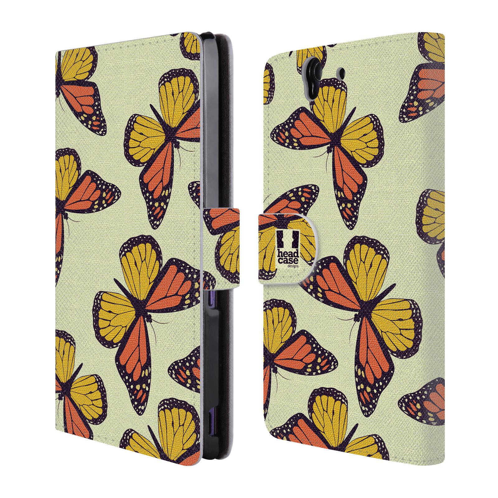 HEAD CASE Flipové pouzdro pro mobil SONY XPERIA Z (C6603) Vzorkovaný motýl Monarcha oranžová